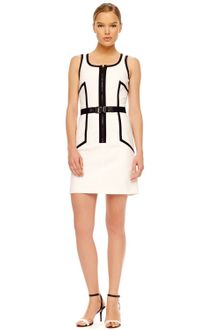 Michael Kors Front Zip Contrast Dress - Lyst