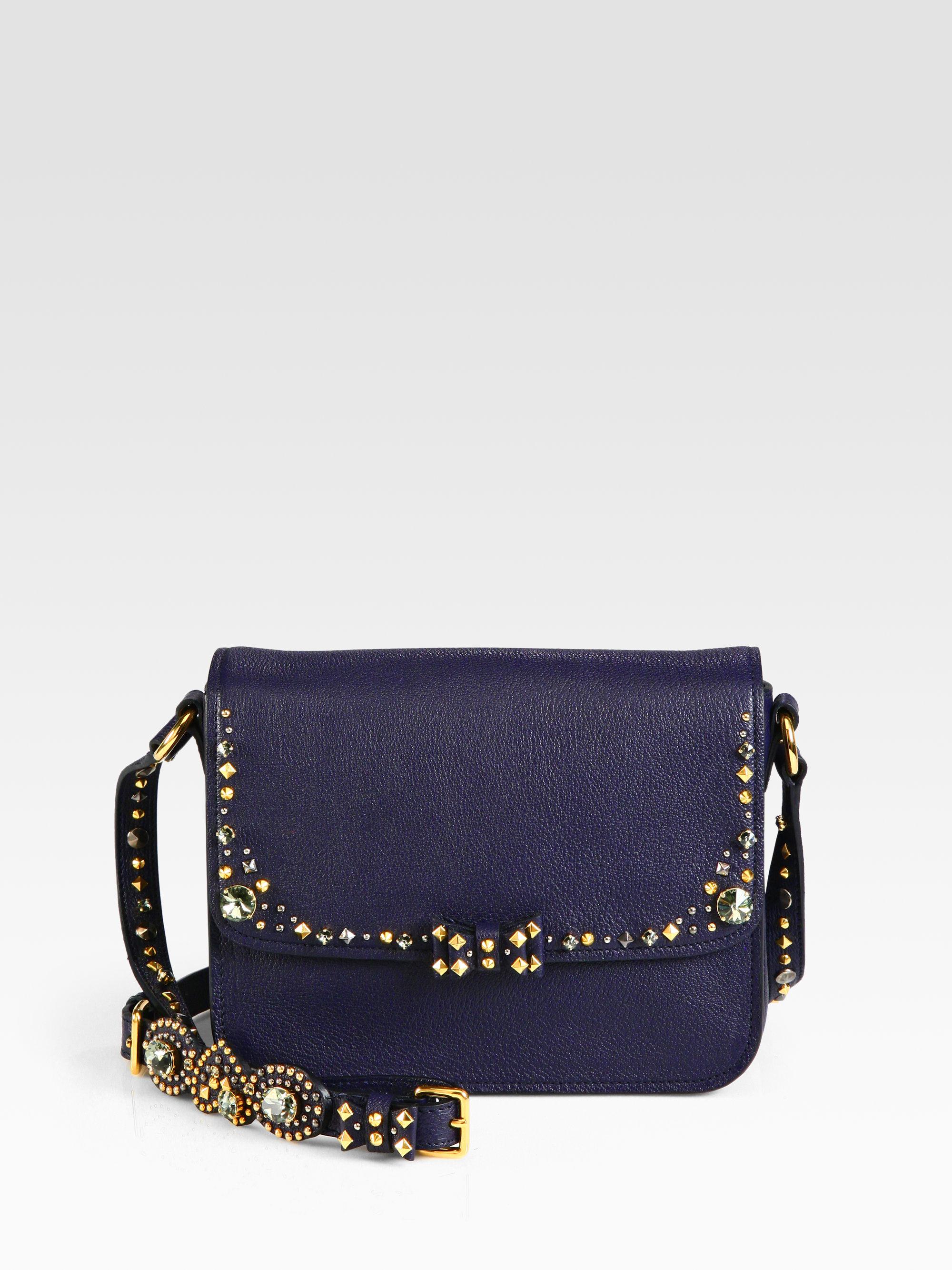 b1a9bf3527e Lyst - Miu Miu Madras Jeweled Crossbody Bag in Blue