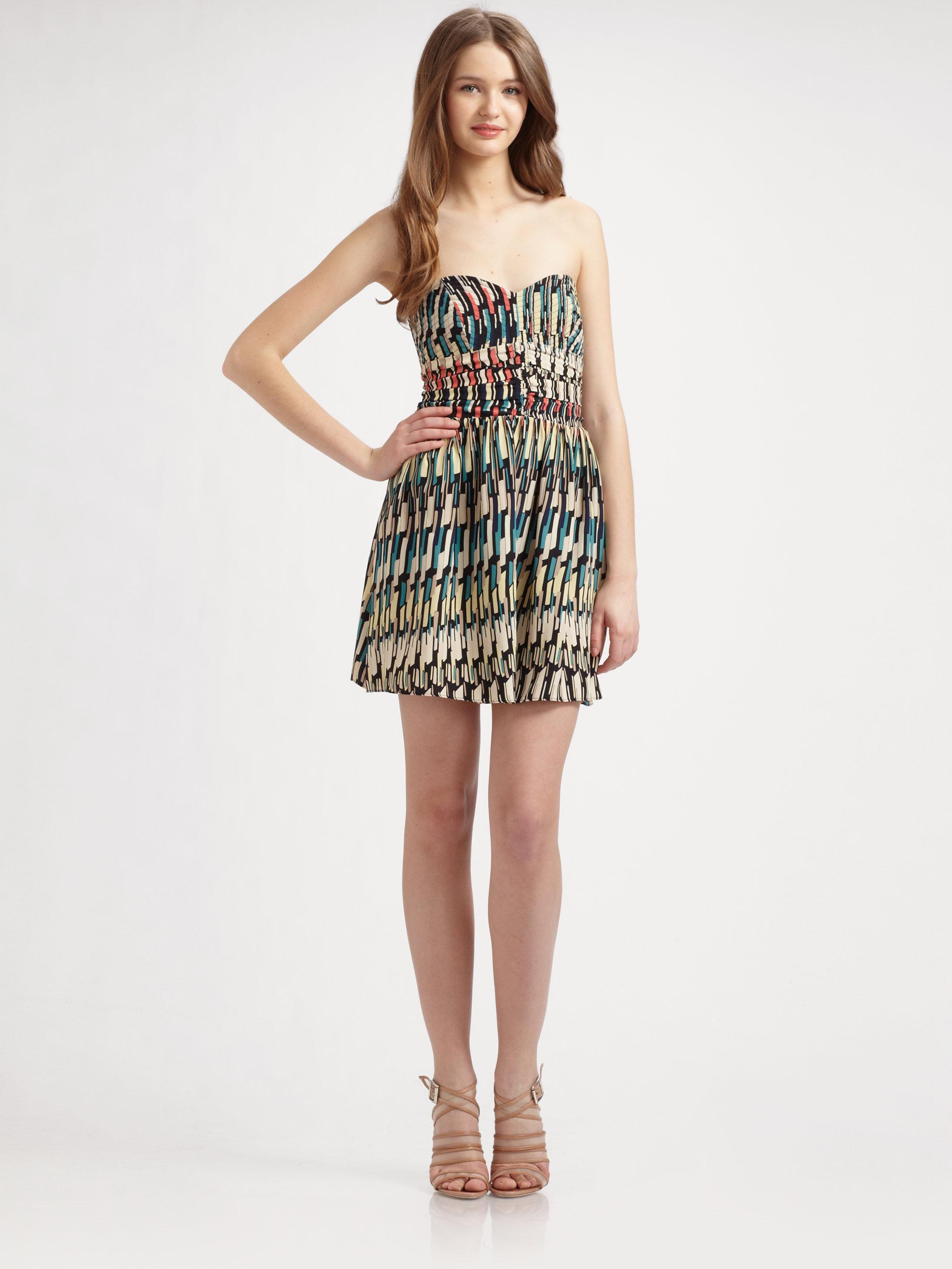 Parker Strapless Silk Charmeuse Dress | Lyst