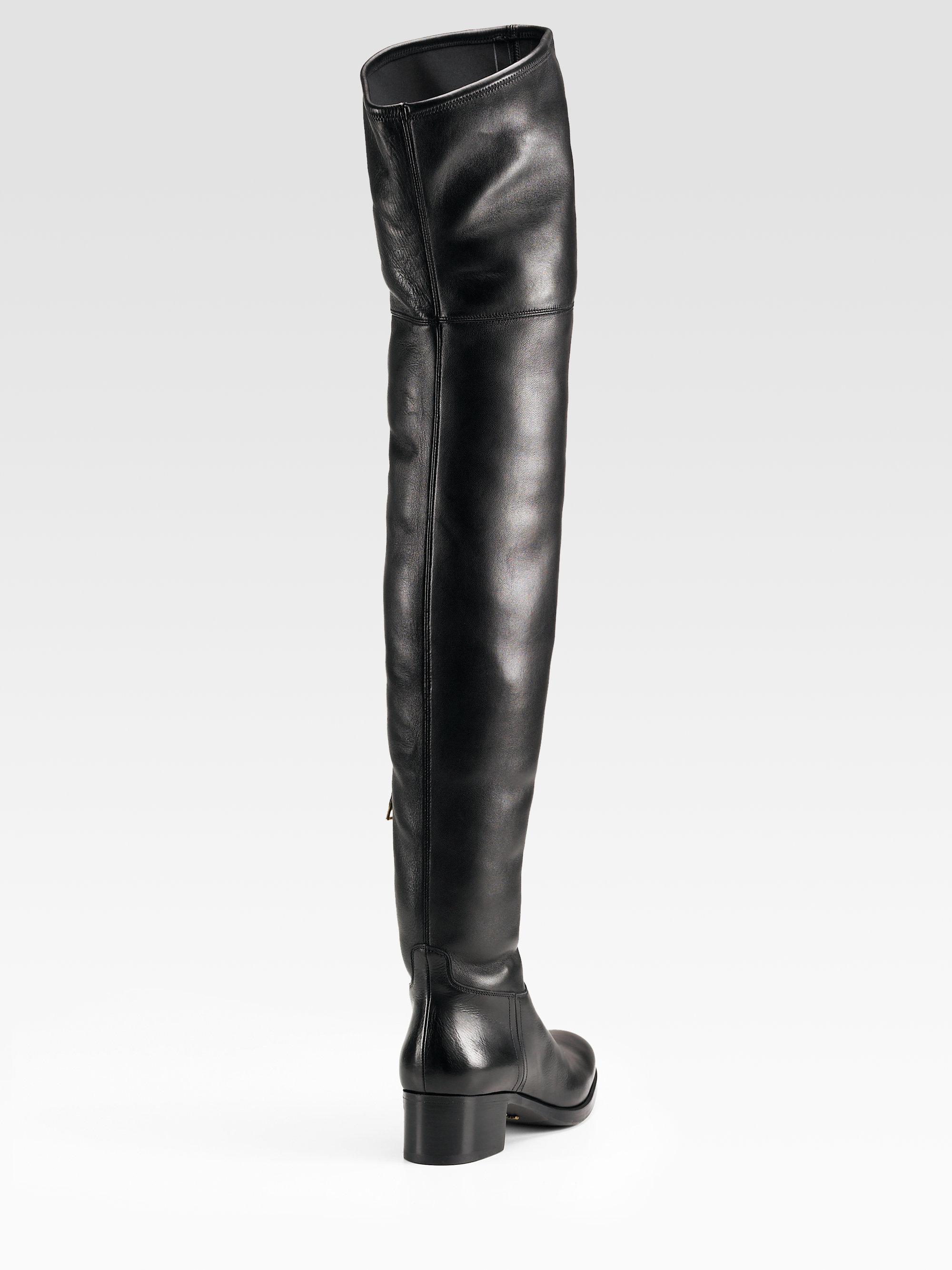 356222fe3 Prada Thigh High Boots in Black - Lyst