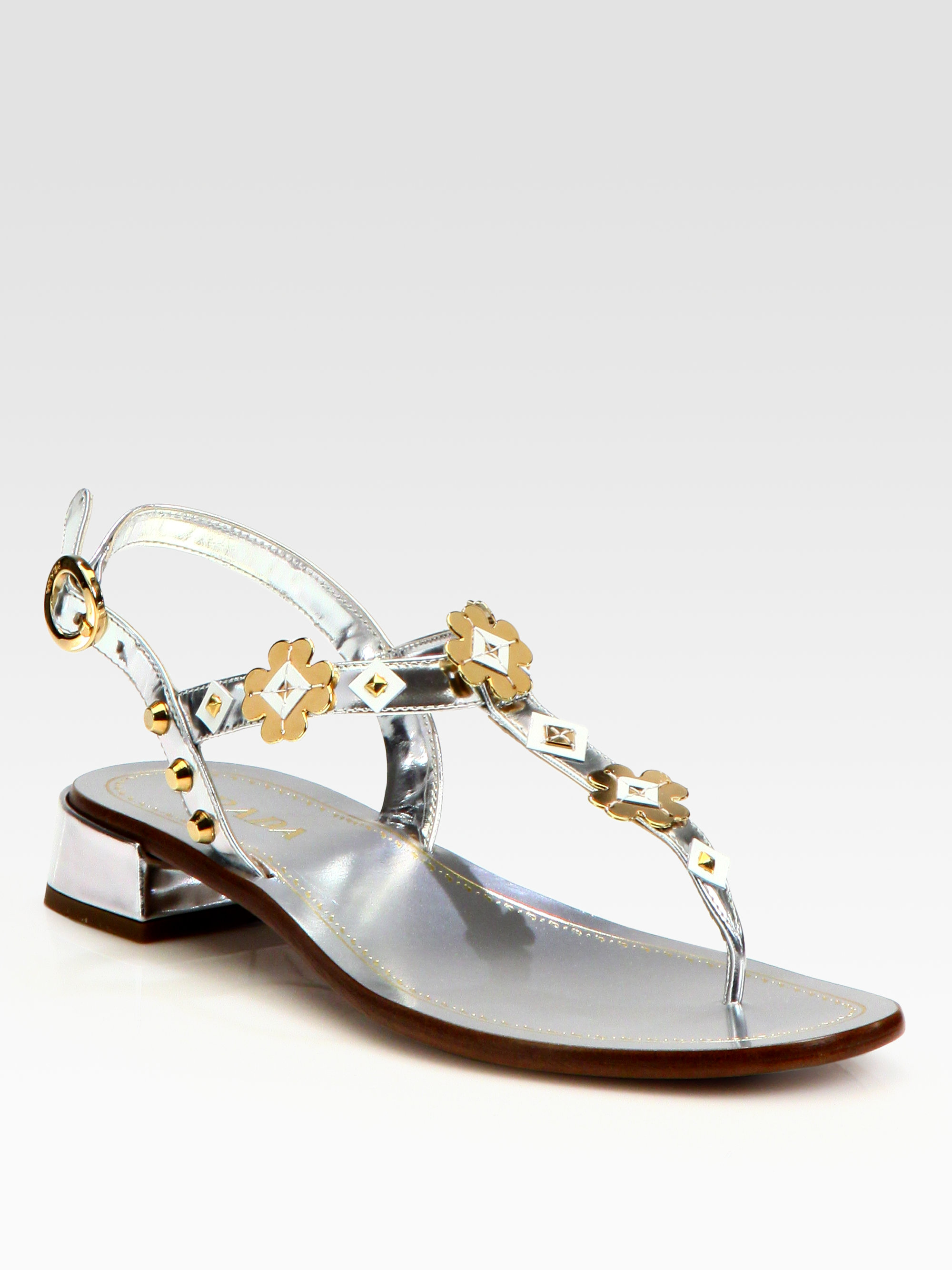 5d988ccdb937 Lyst - Prada Metallic Leather Flower Appliqu233 Thong Sandals in ...