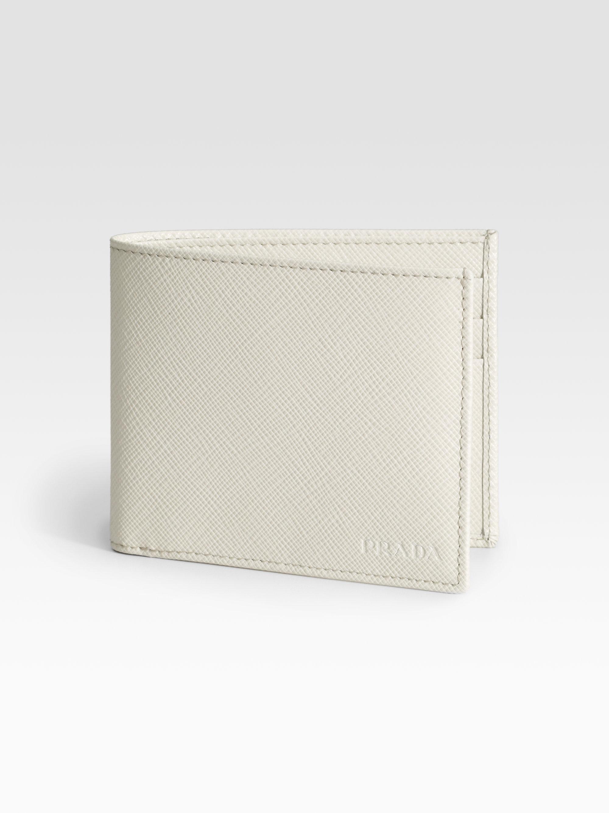 lyst prada saffiano leather bifold wallet in white