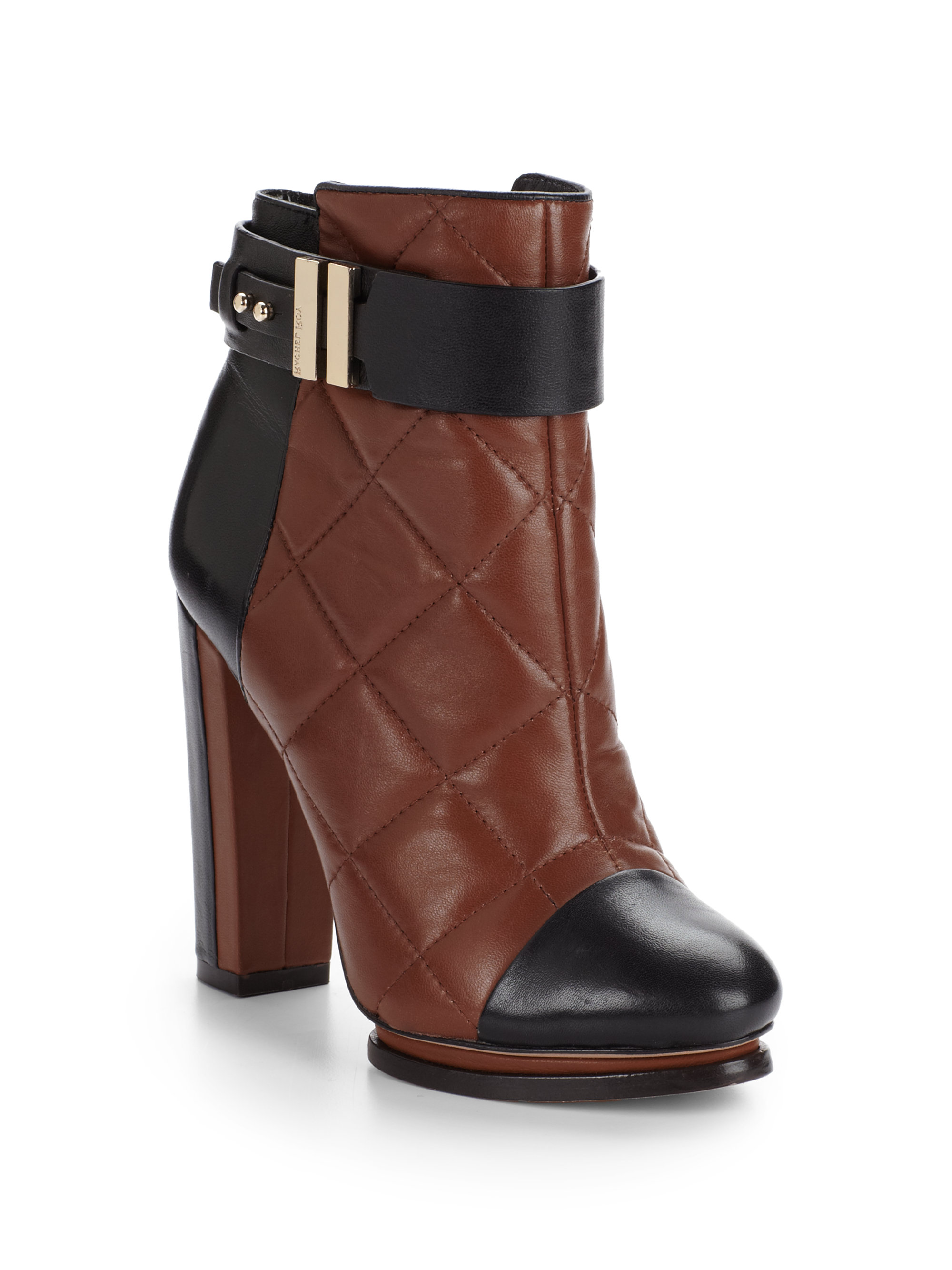 Rachel Roy Echo Quilted Leather Ankle Boots In Brown Lyst