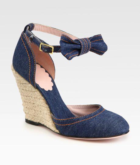 valentino denim espadrille wedge bow sandals in blue