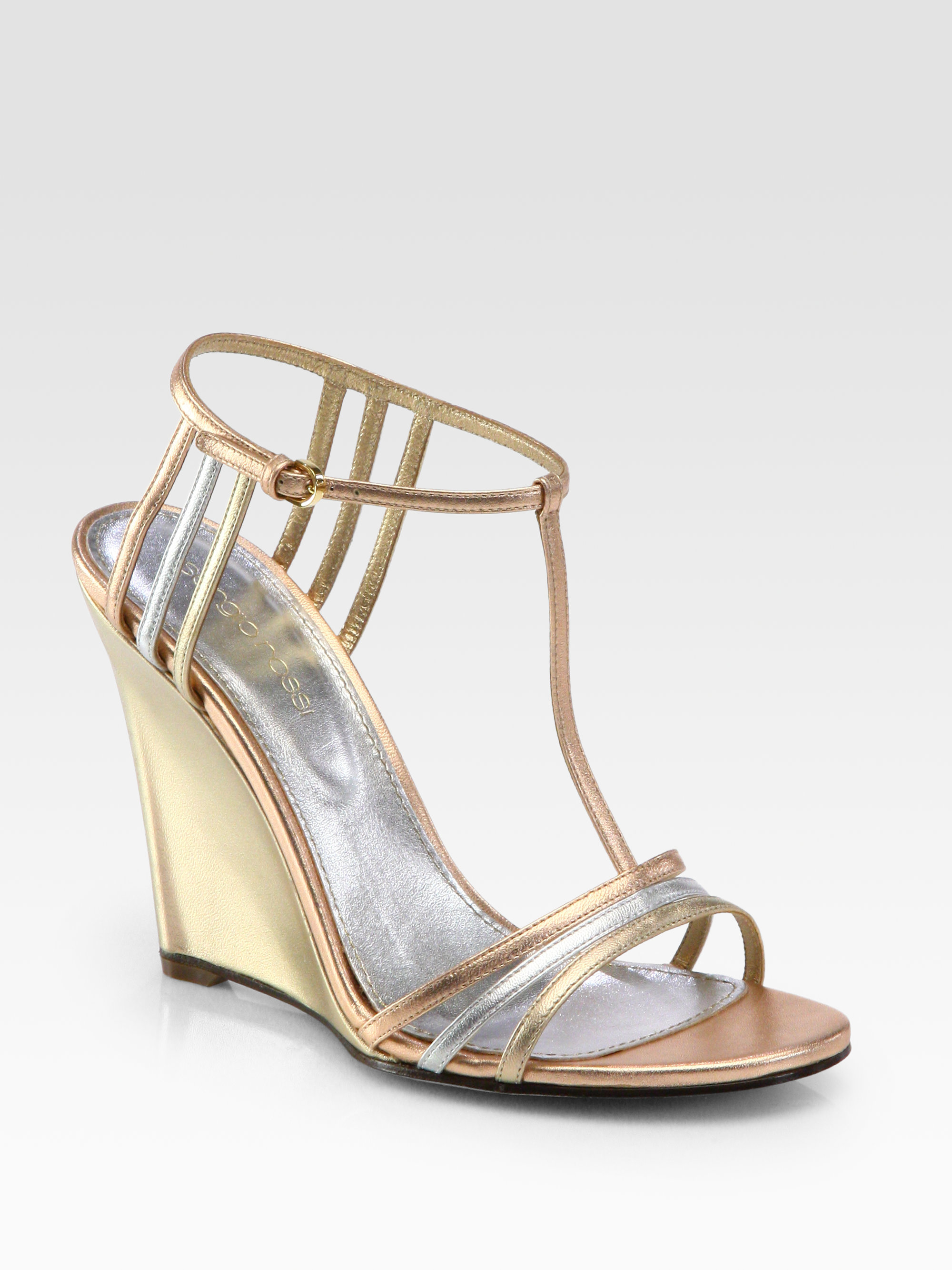 Sergio rossi Metallic Leather Tstrap Wedge Sandals in Metallic | Lyst