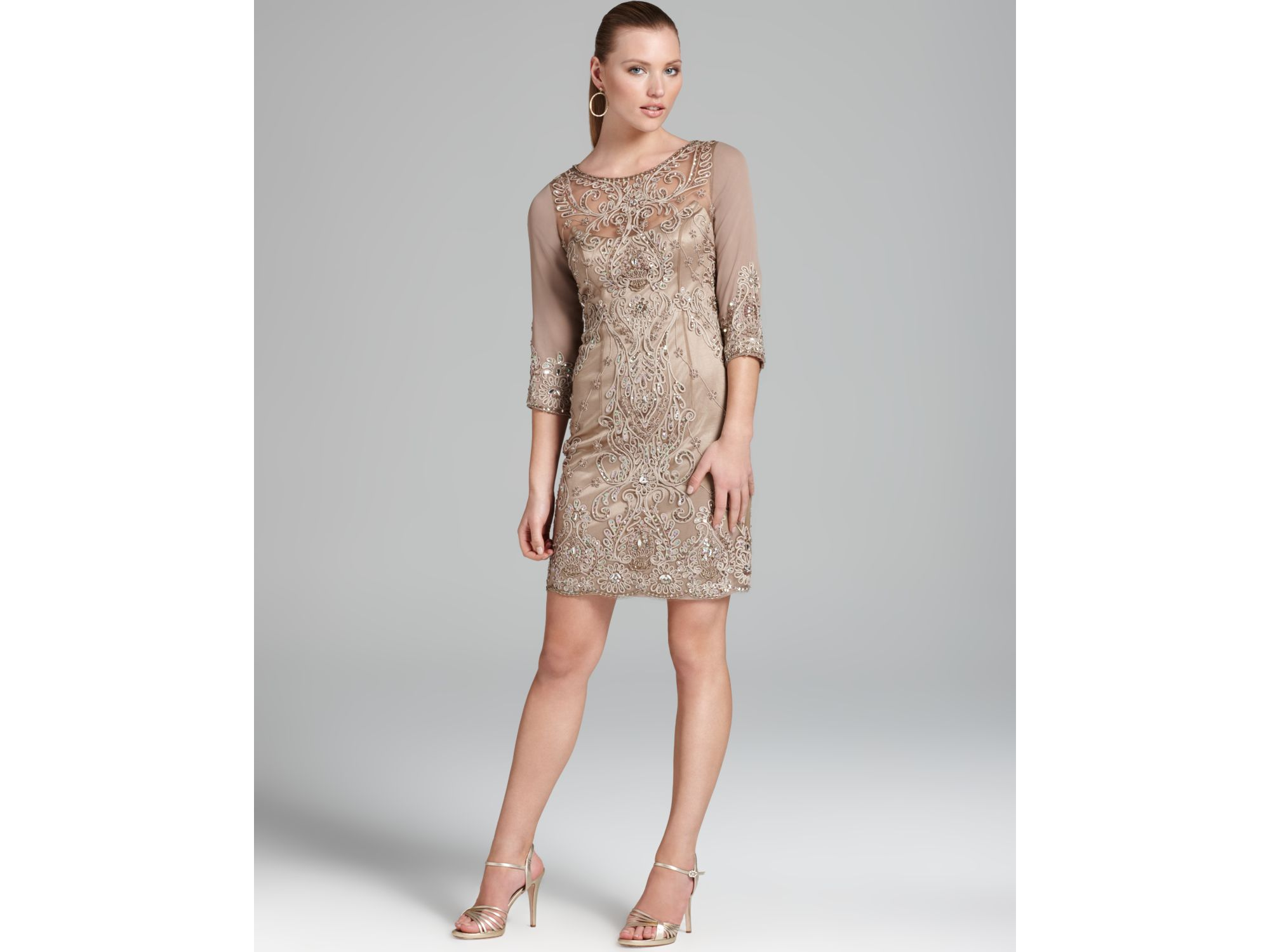 Beige Dress Picture Collection: Sue Wong Dress Three Quarter Sleeve Illusion In Beige