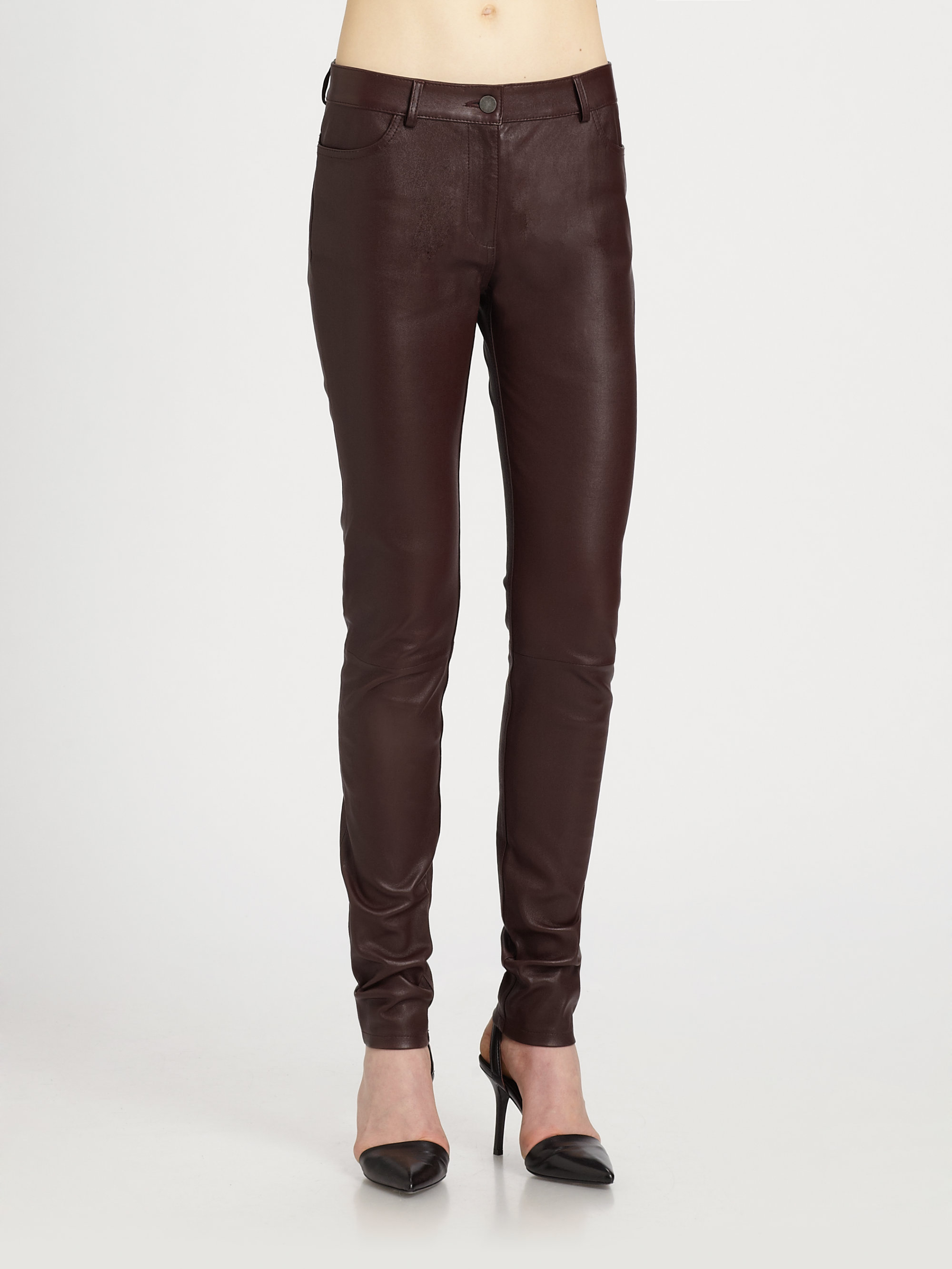 3dacb0debfe8 Lyst - T By Alexander Wang Stretch-leather Pants in Brown