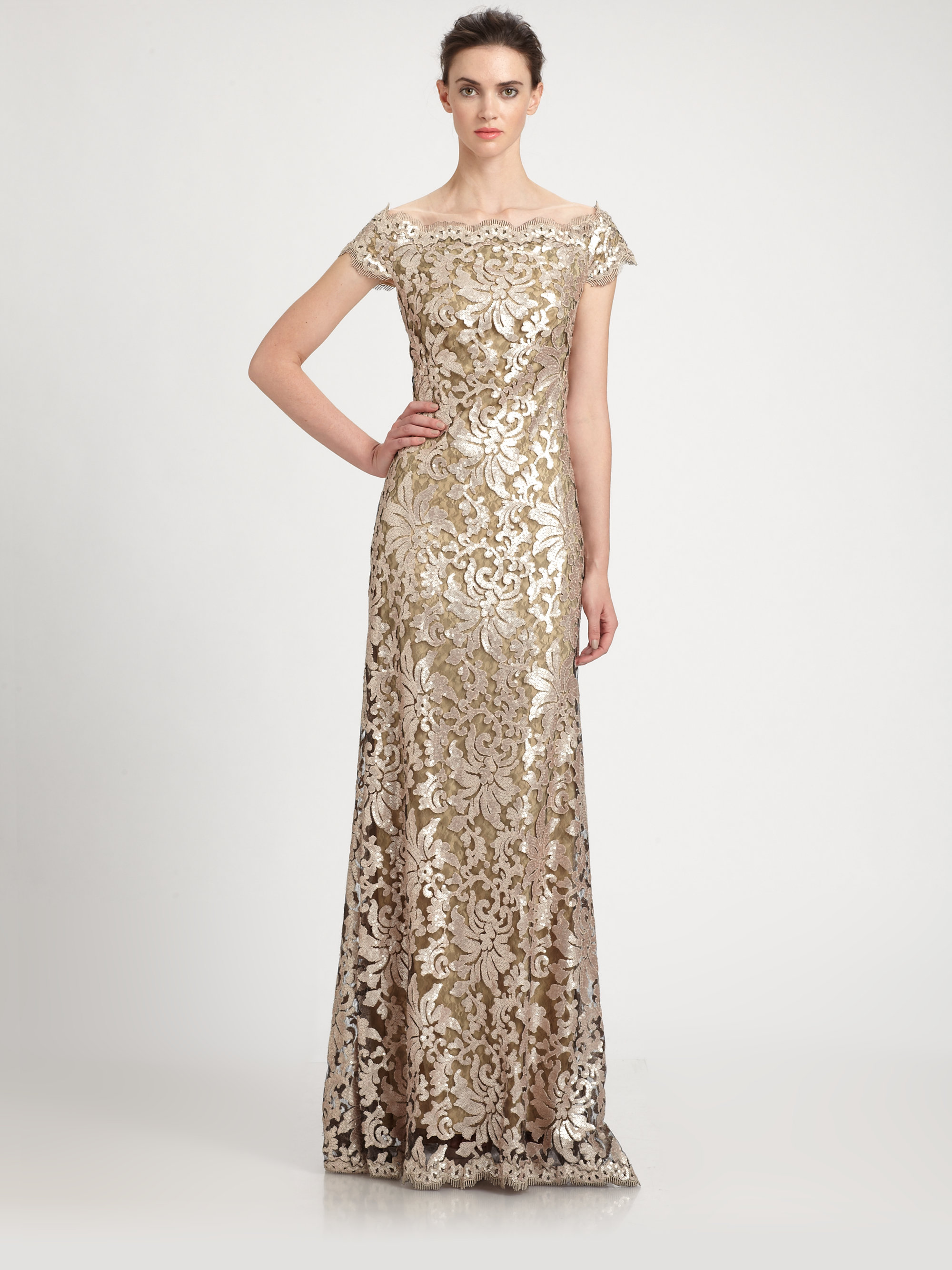 b979a7f668dd Tadashi Shoji Offtheshoulder Sequined Lace Gown in Metallic - Lyst