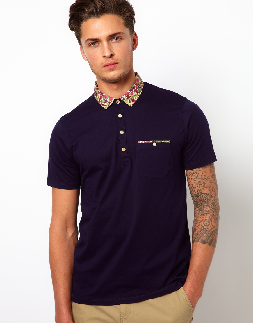 Ted baker floral polo shirt in blue for men navy lyst Man in polo shirt