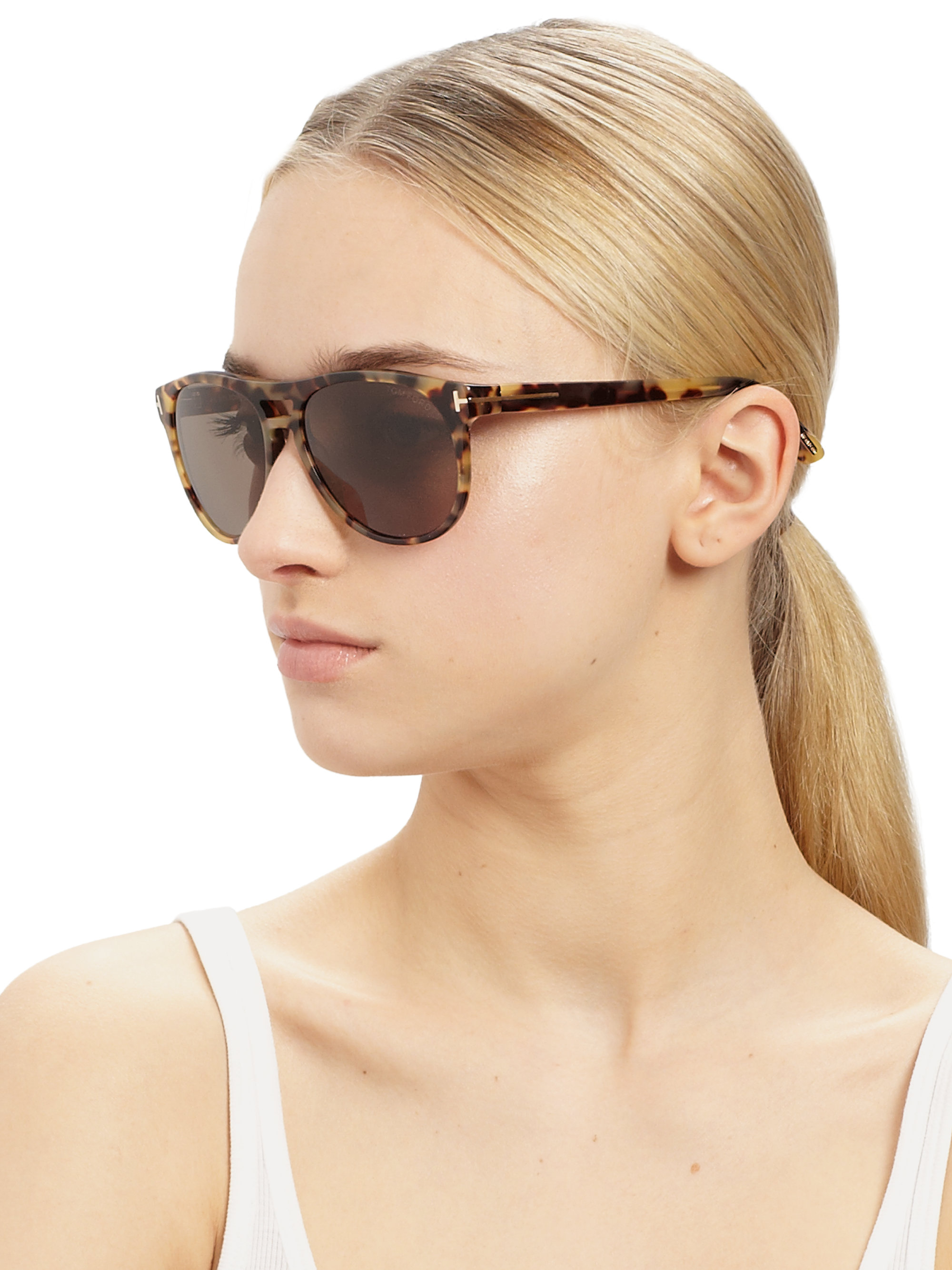 cd2bf6c0a9db4 Tom Ford Callum Acetate Oval Sunglasses in Brown - Lyst