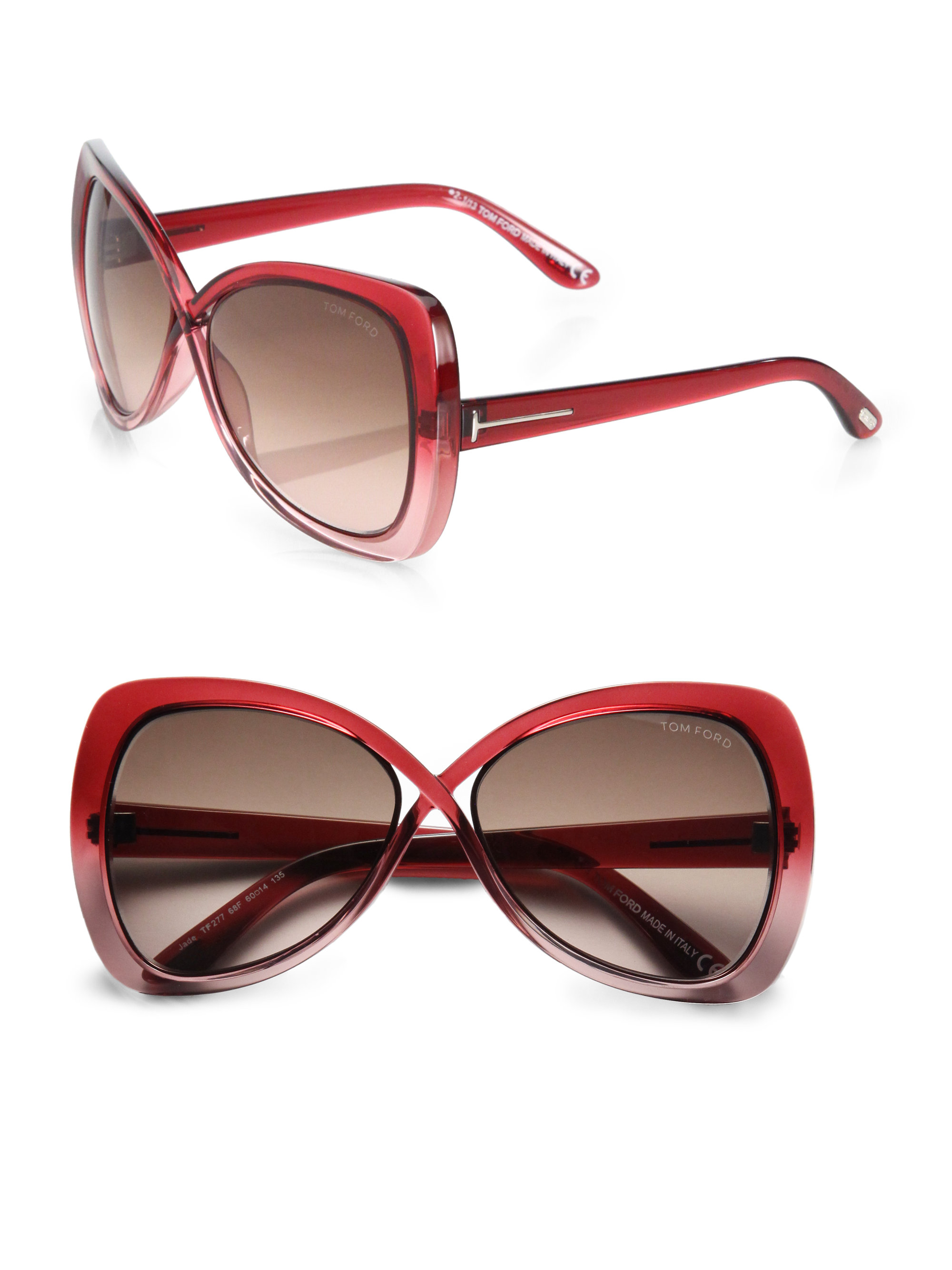 de8e042e4776 Lyst - Tom Ford Jade Crossover Injected Square Sunglasses in Red