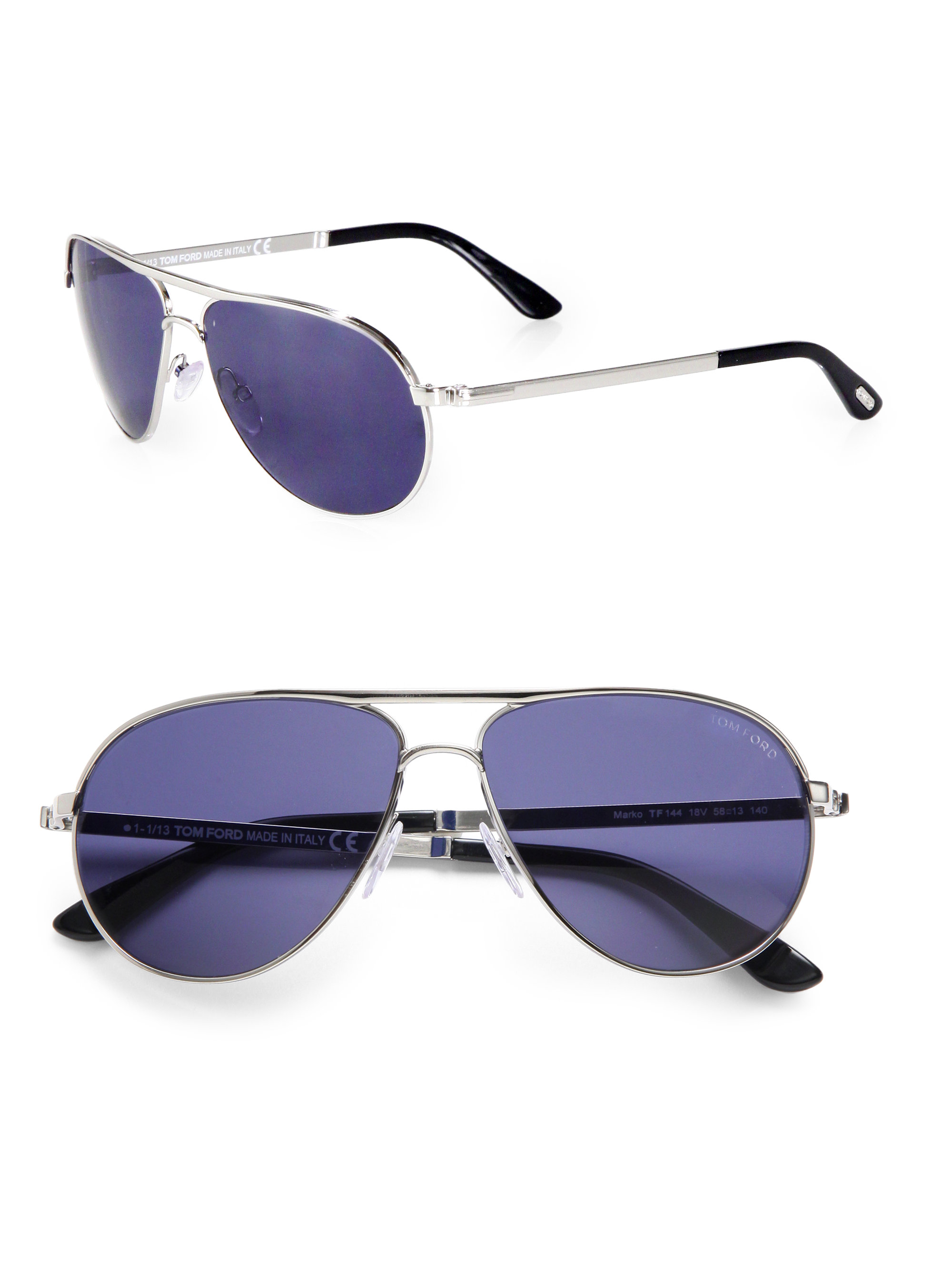 dda6822f2e55 Lyst - Tom Ford Marko Metal Aviator Sunglasses in Blue for Men