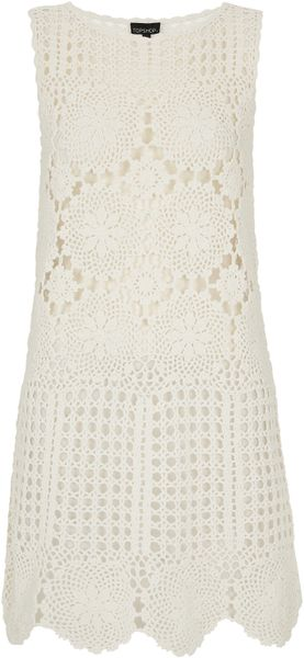 Topshop Cream Floral Crochet Cover Up - Lyst