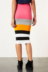 Topshop Colour Block Stripe Tube in Multicolor (pink) - Lyst