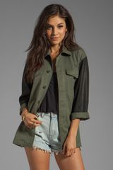 Tylie Vintage Redux Military Spray Leather Sleeves Jacket in Army Greenblack - Lyst