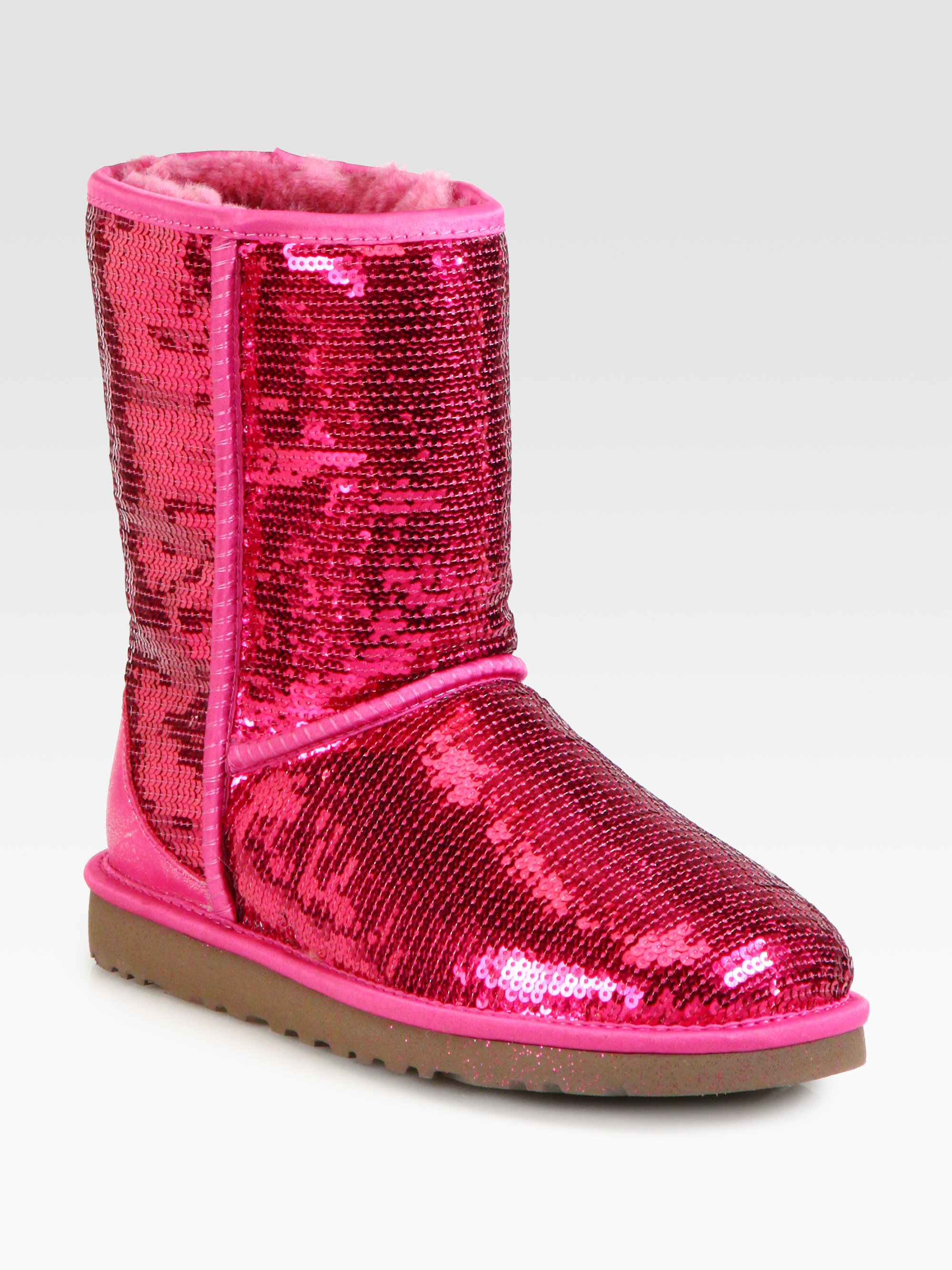 Lyst Ugg Classic Short Sequin Boots In Red