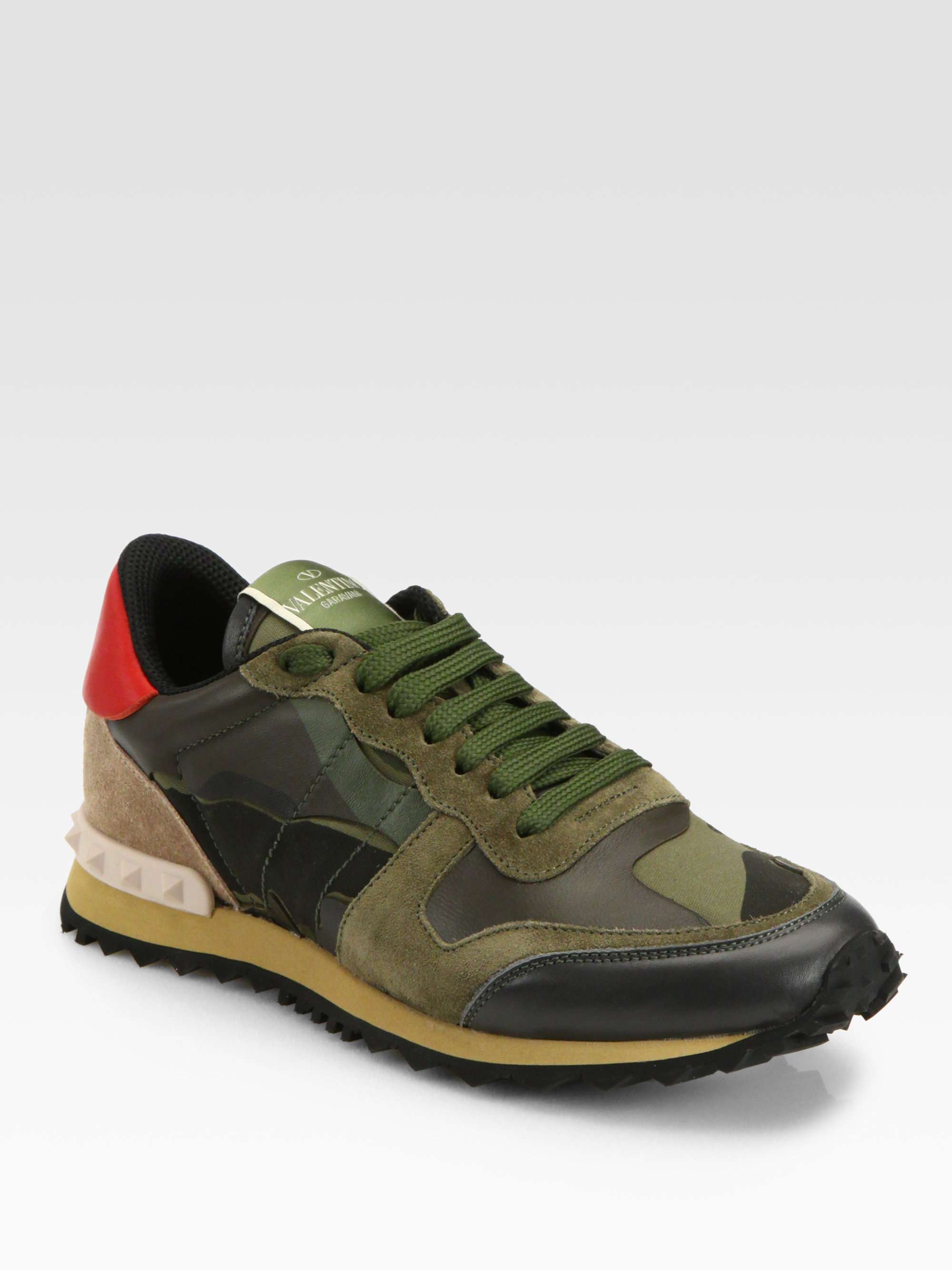 valentino camouflage leather suede sneakers in green lyst. Black Bedroom Furniture Sets. Home Design Ideas