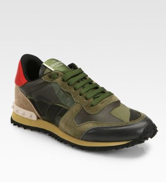 Valentino Camouflage Leather Suede Sneakers - Lyst