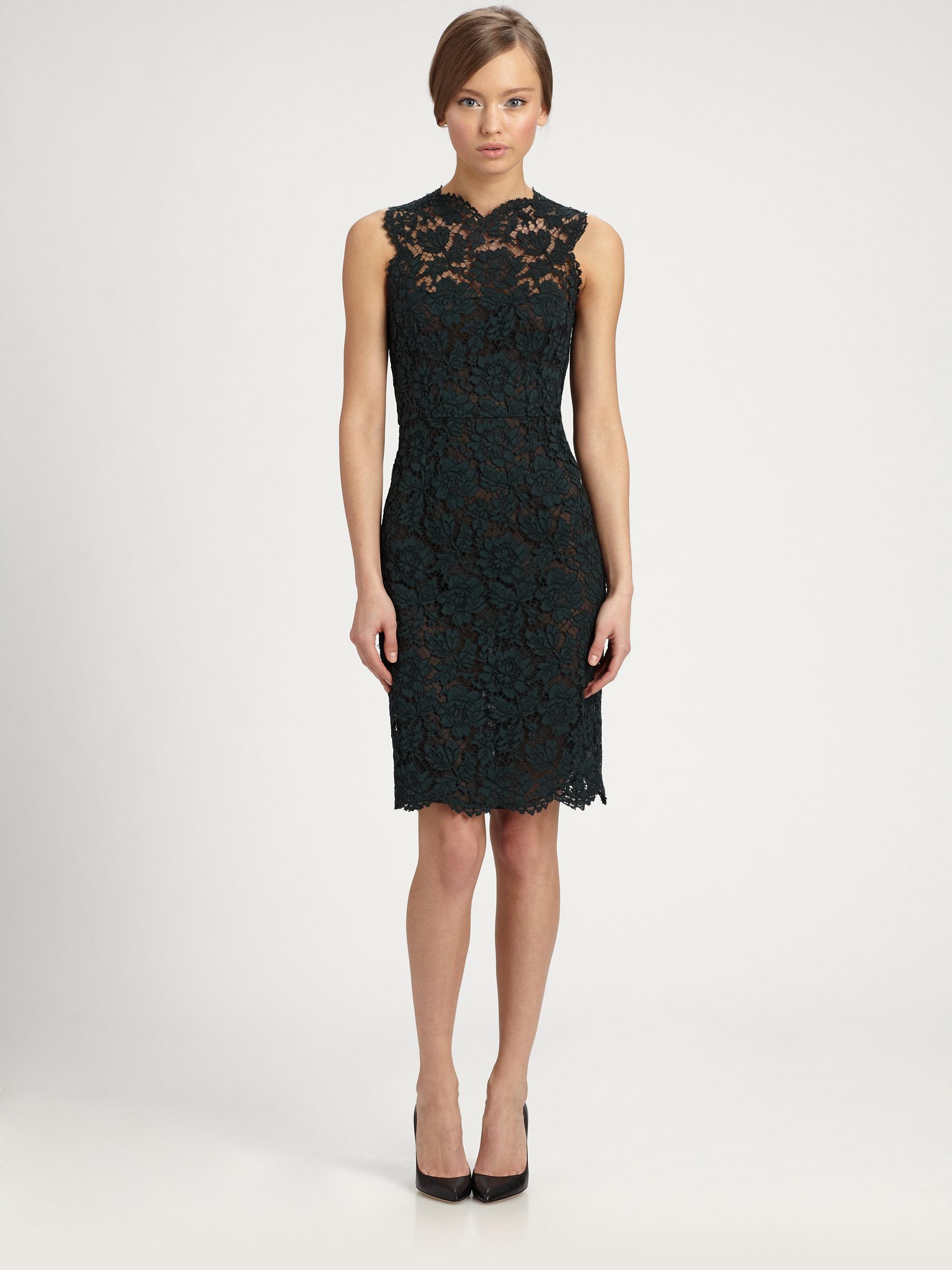 f90cf9c61842 Valentino Heavy Tubino Lace Dress in Green - Lyst