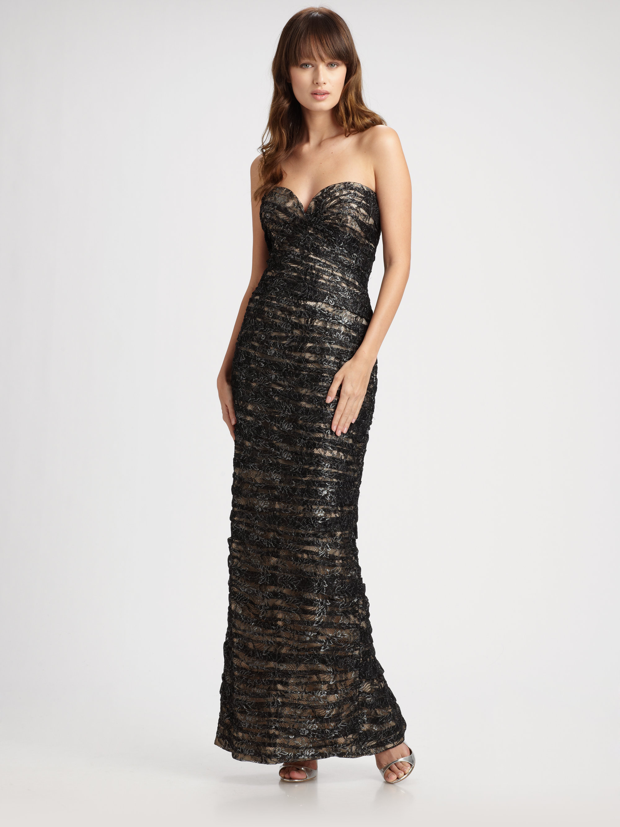 Vicky Tiel Ruched Lace Strapless Gown in Black (black ...