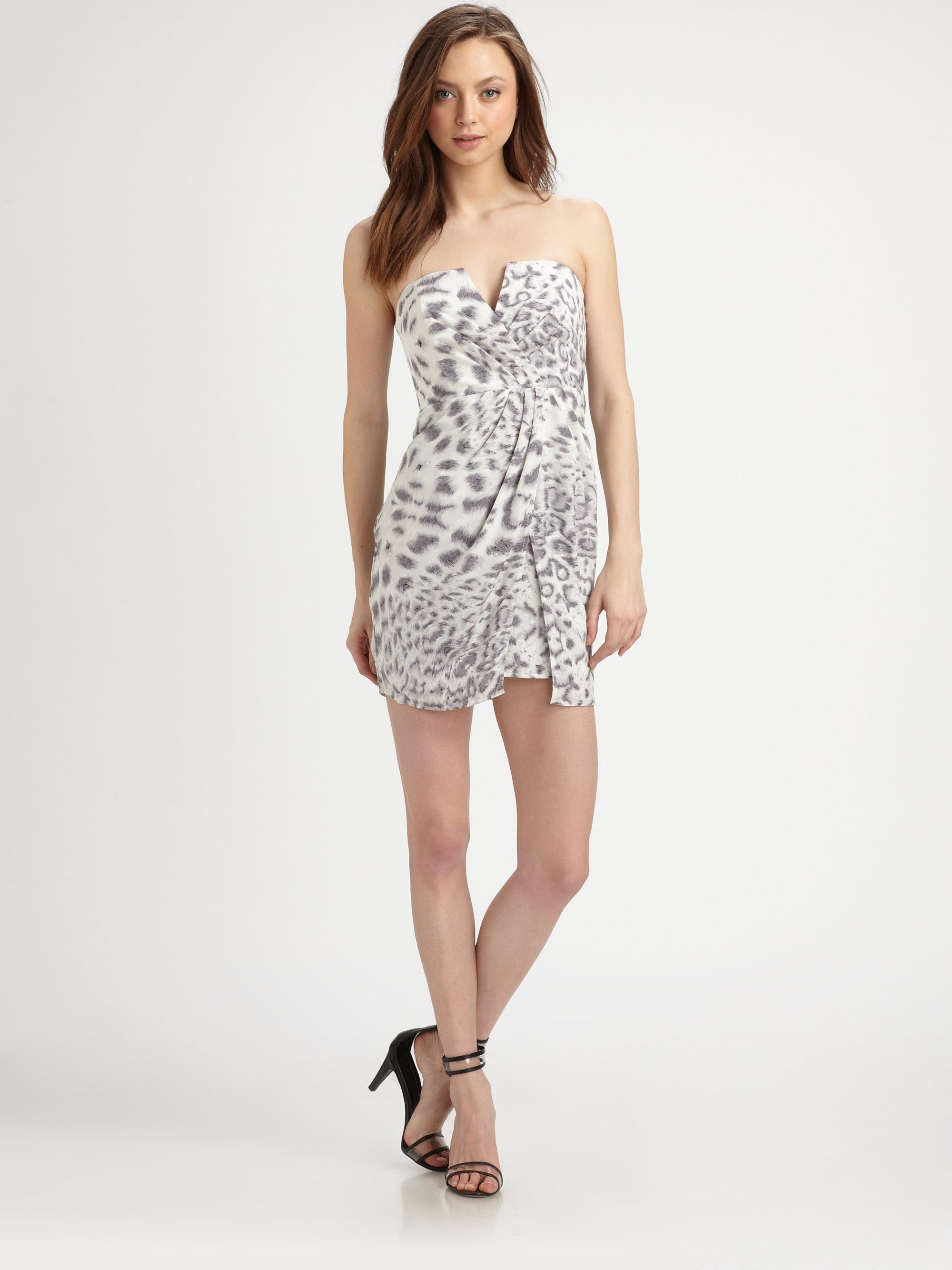 Zimmermann Silk Leopard Print Strapless Dress | Lyst
