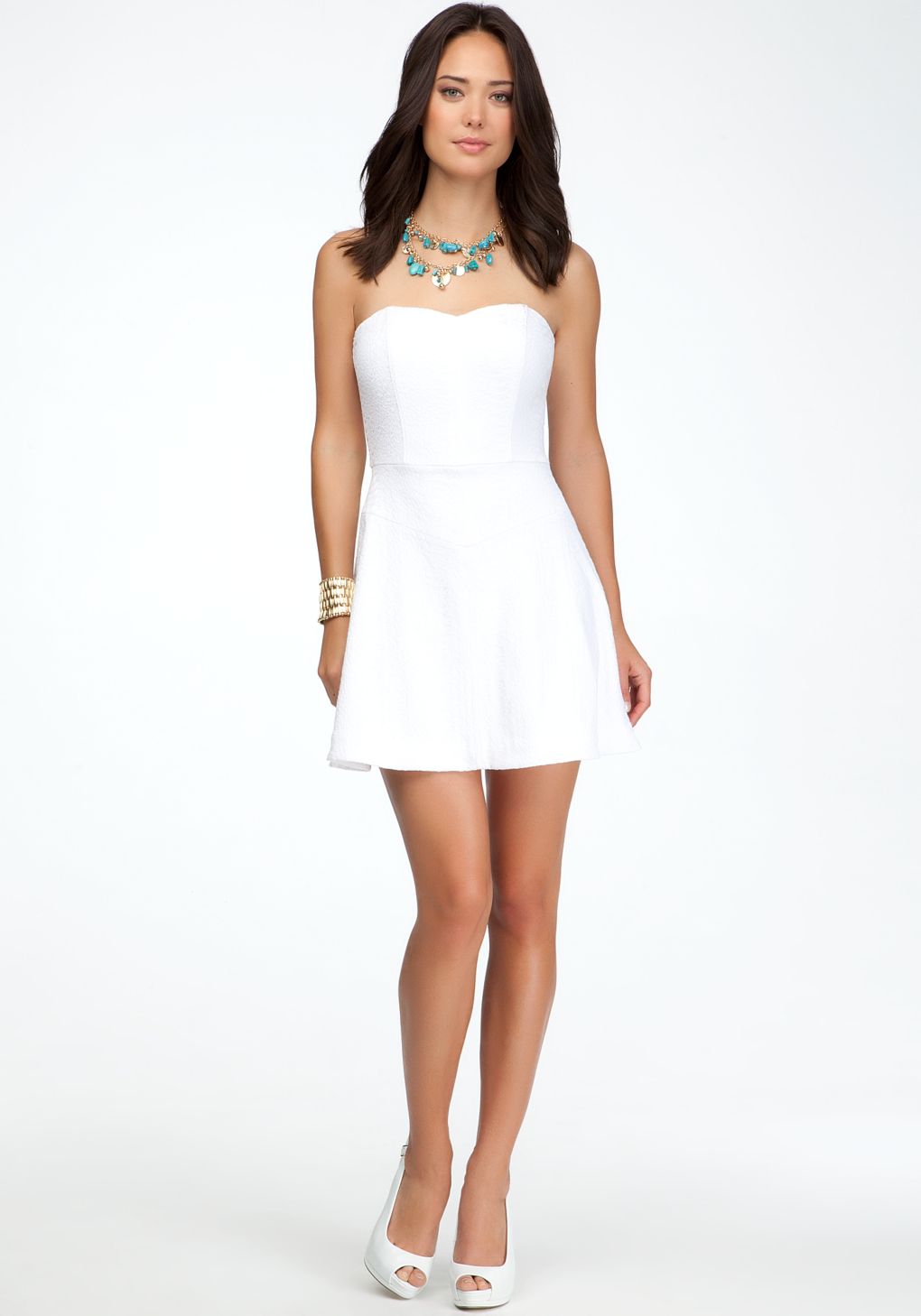 Bebe heart neck strapless dress in white lyst gallery ombrellifo Images