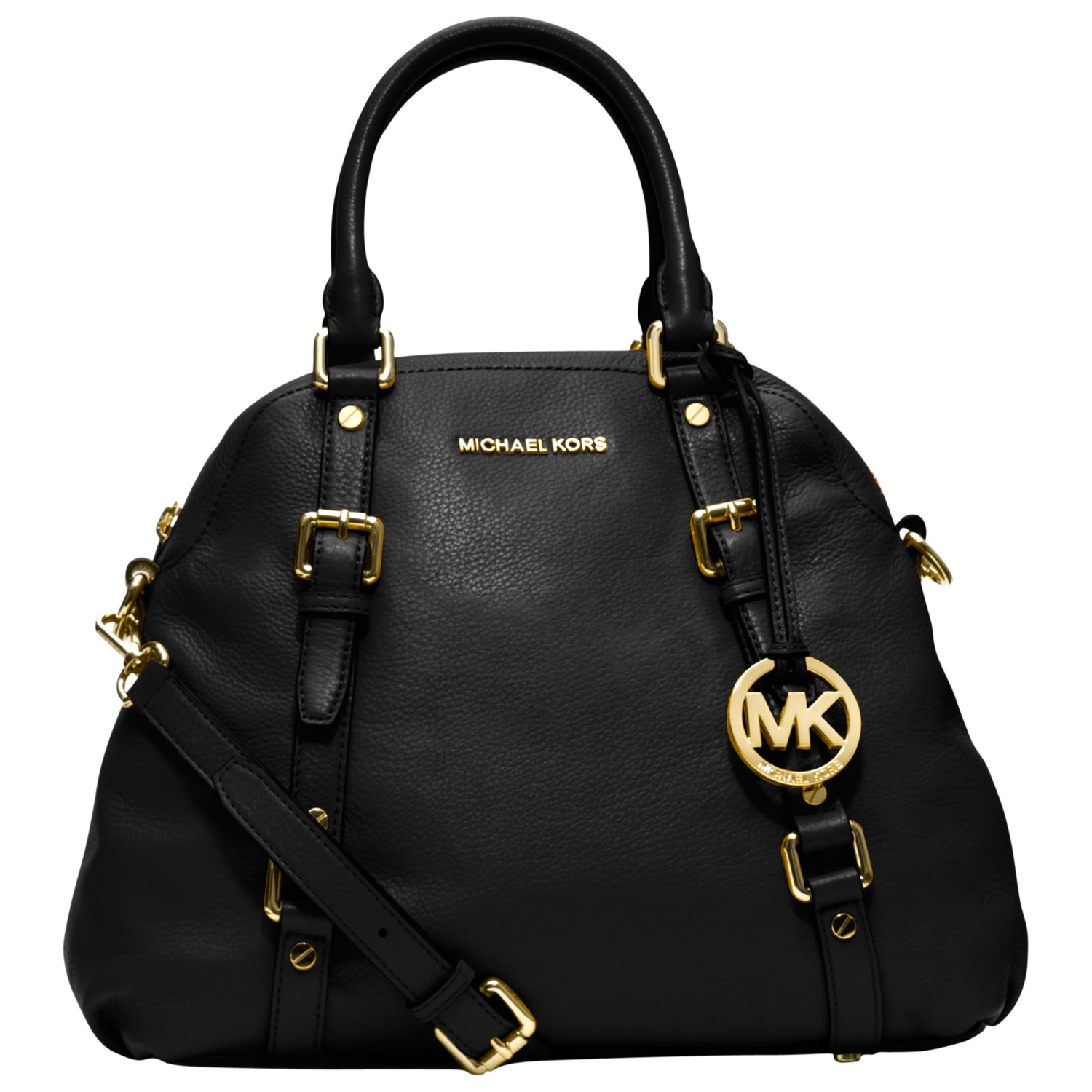 michael michael kors bedford leather bowling bag in black. Black Bedroom Furniture Sets. Home Design Ideas