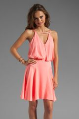 Milly Stretch Silk Crepe Bartank Dress in Fluo Melon - Lyst