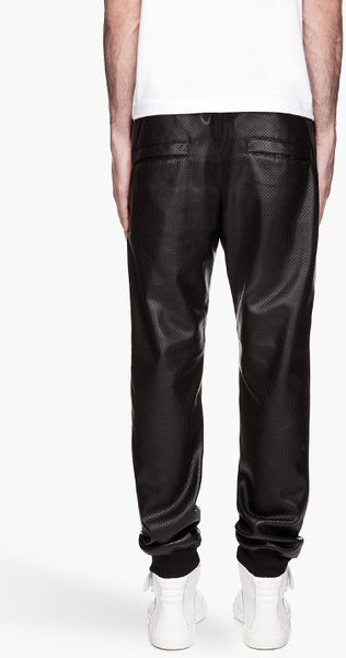 Balmain Black Perforated Leather Jogging Pants in Black for Men | Lyst
