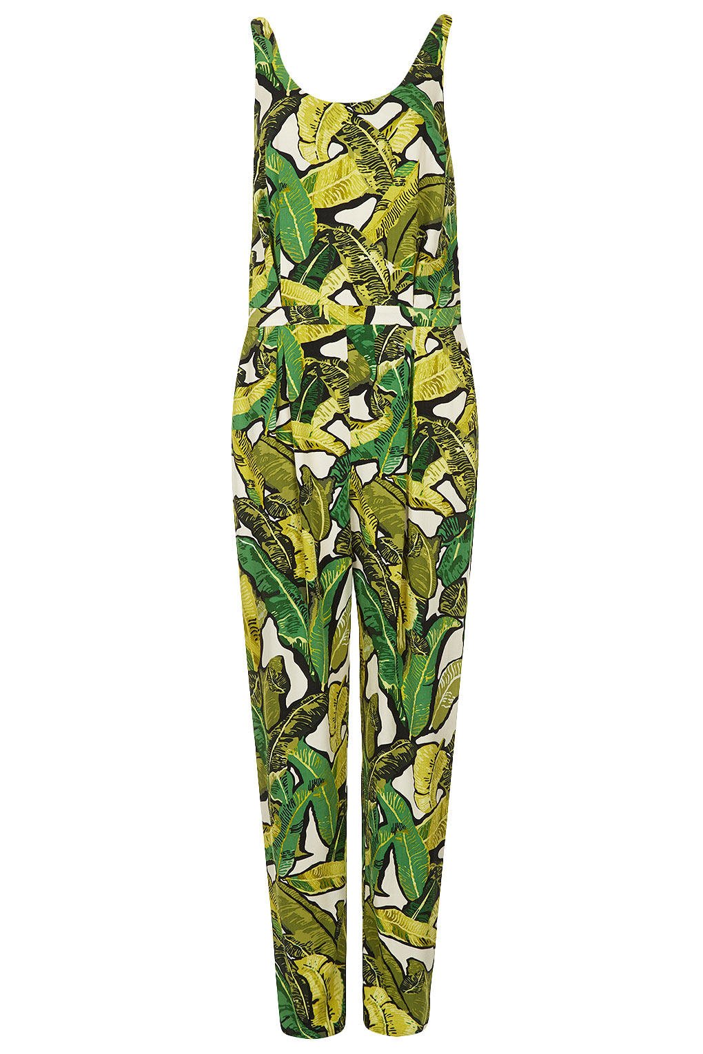 9d00f5df433 TOPSHOP Leaf Print Jumpsuit in Green - Lyst