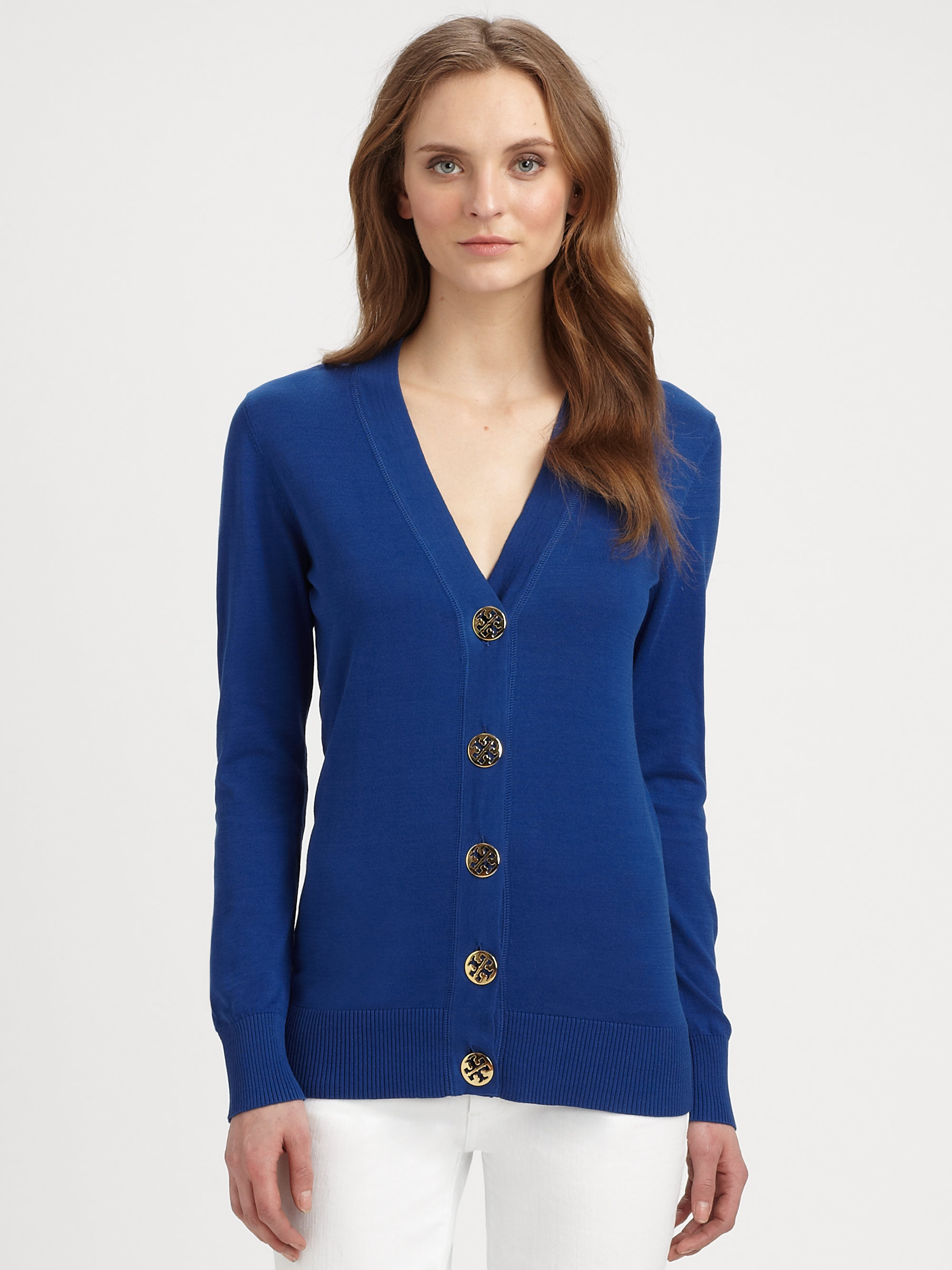 Tory burch Simone Cotton Cardigan Sweater in Blue | Lyst