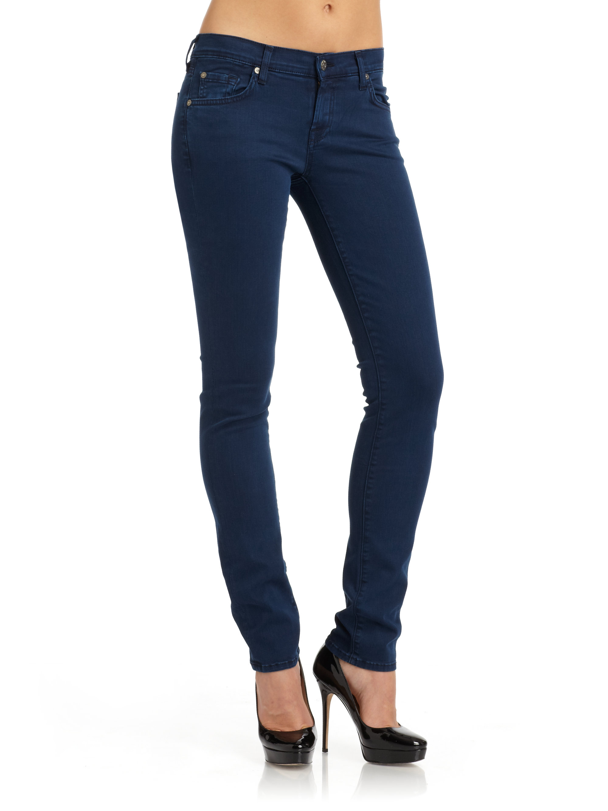 lyst 7 for all mankind roxanne rhinestone skinny jeans in blue. Black Bedroom Furniture Sets. Home Design Ideas