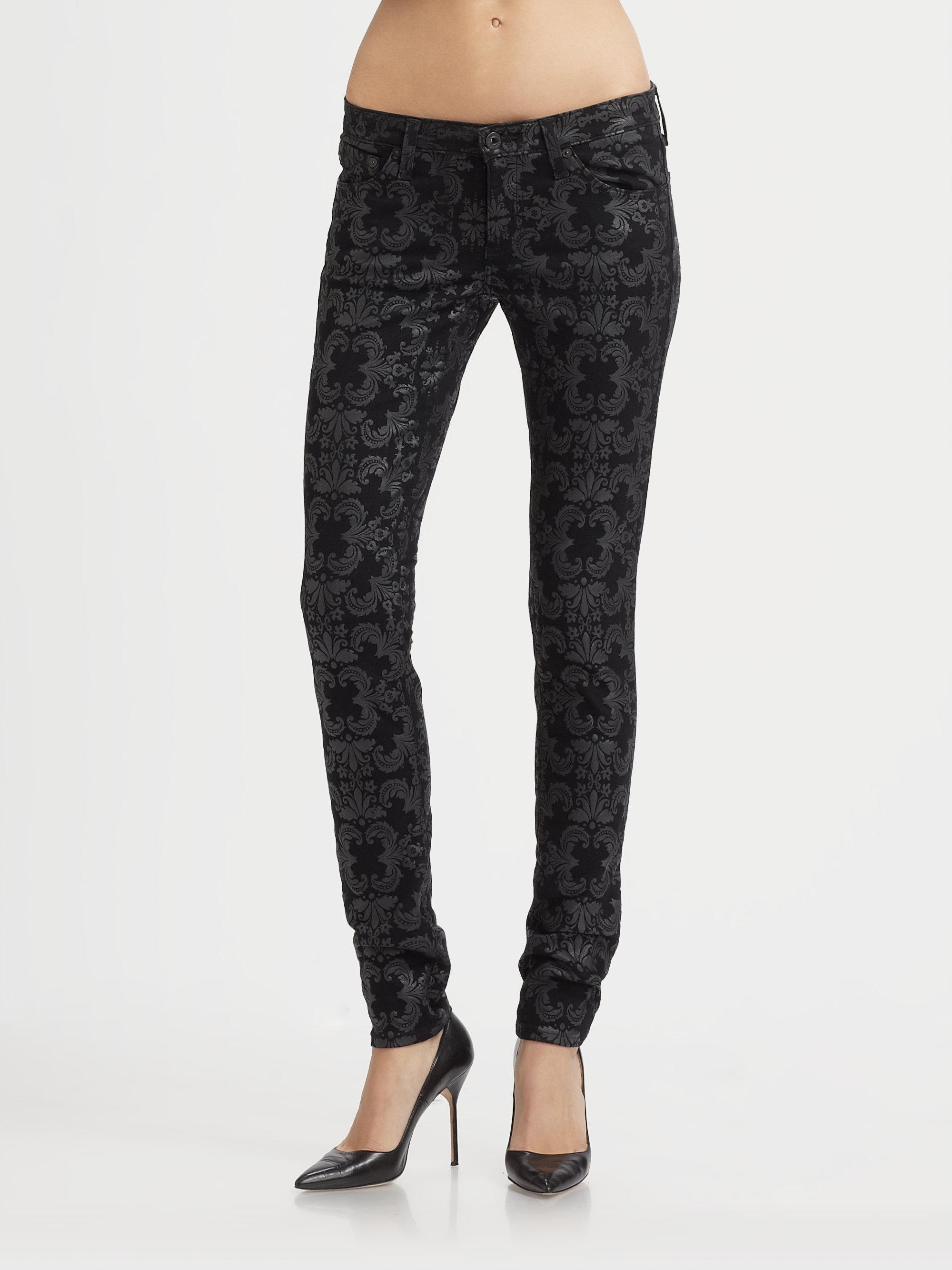 Ag jeans Printed Skinny Jeans in Floral (black) | Lyst