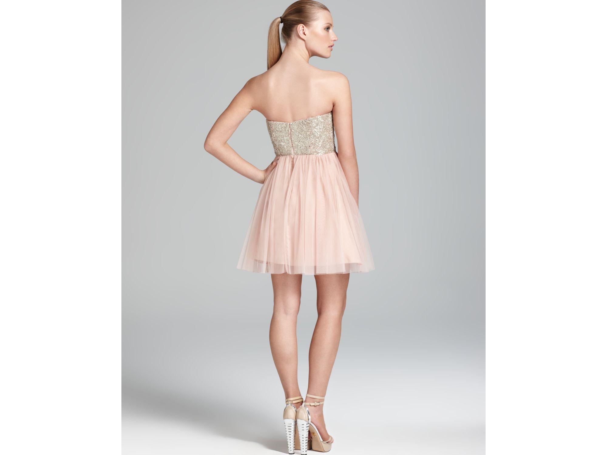 Aidan mattox Party Dress Strapless Sequin Top in Pink | Lyst
