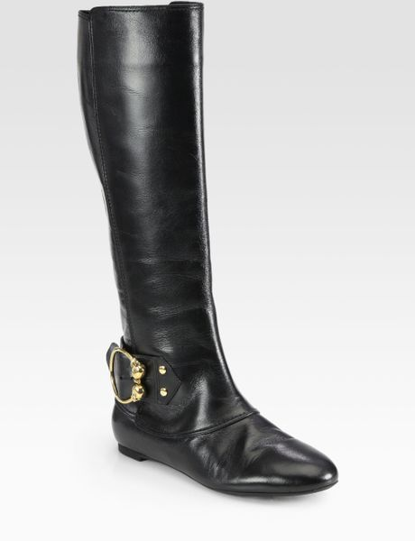 mcqueen leather buckle knee high boots in black