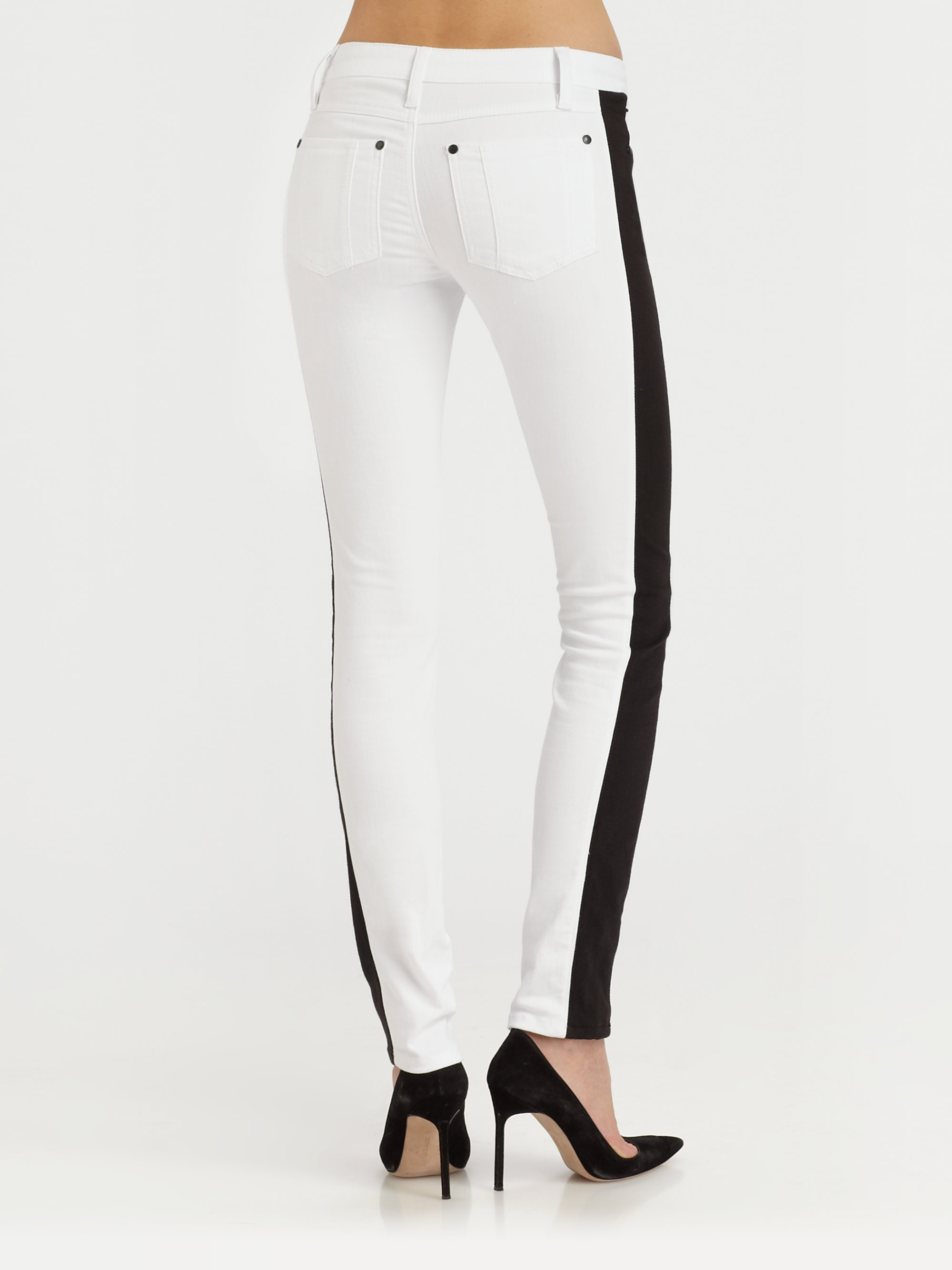 Lyst Alice Olivia Racing Stripe Jeans In Black