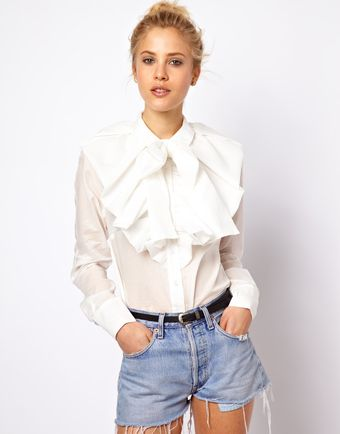 ASOS Collection Shirt with Dramatic Collar and Bow - Lyst