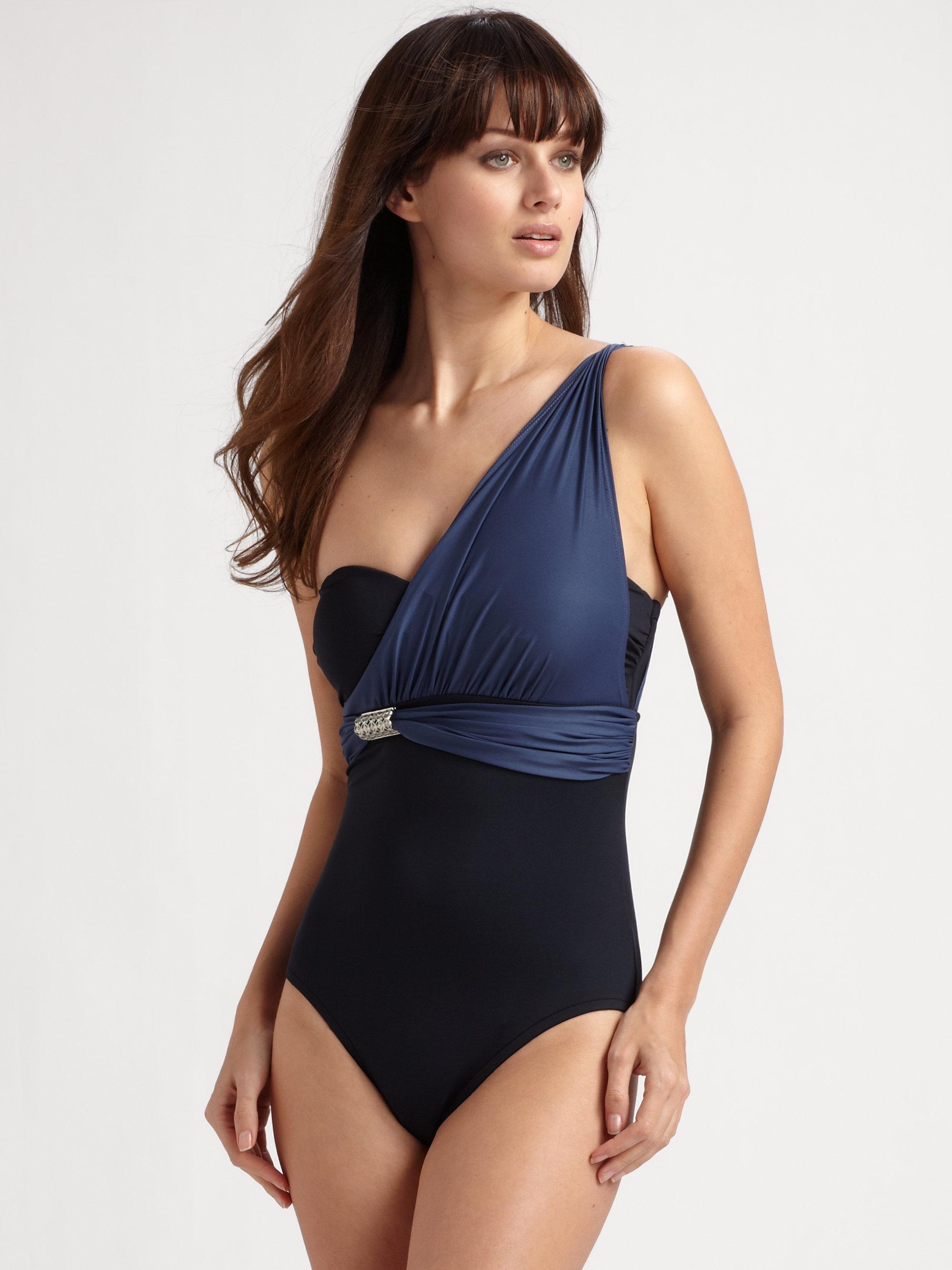 9864a3c1eb Lyst - Badgley Mischka One shoulder One-piece Swimsuit in Black