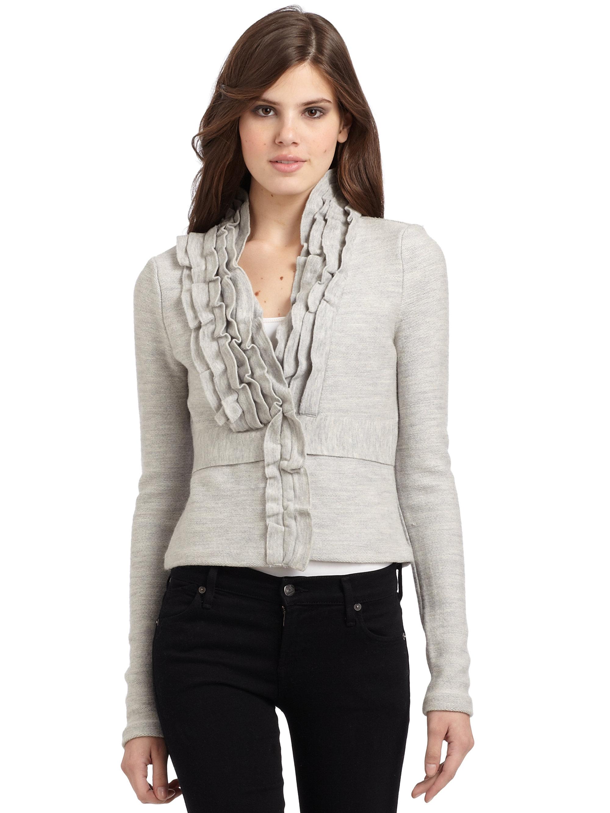 Knitting Cardigan Collar : Lyst bcbgmaxazria wool knit ruffle collar cardigan in gray