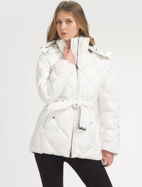 Burberry Brit Down Puffer Jacket In White Black Lyst