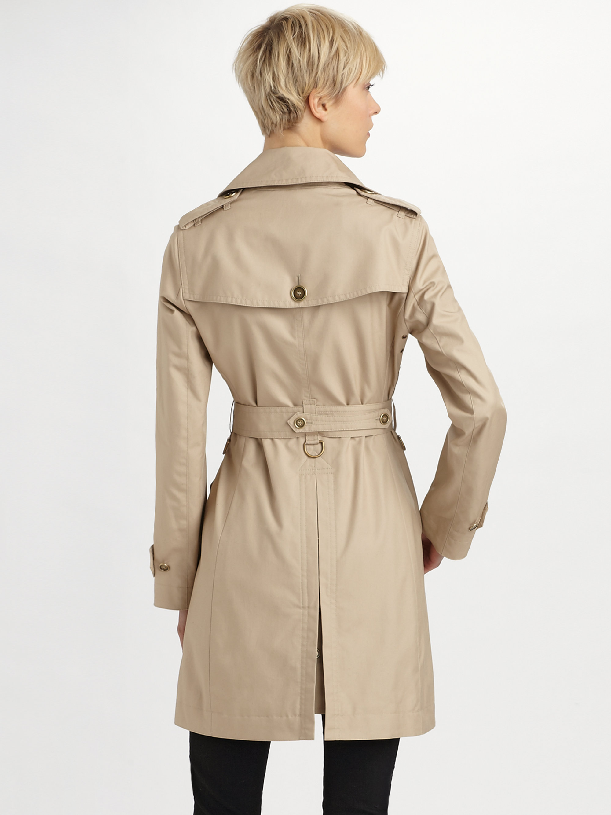 lyst burberry brit double breasted trench coat in natural. Black Bedroom Furniture Sets. Home Design Ideas