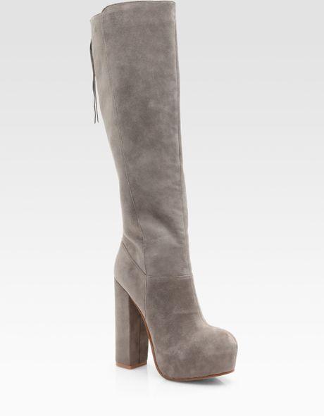dolce vita suede block heel knee high boots in gray black