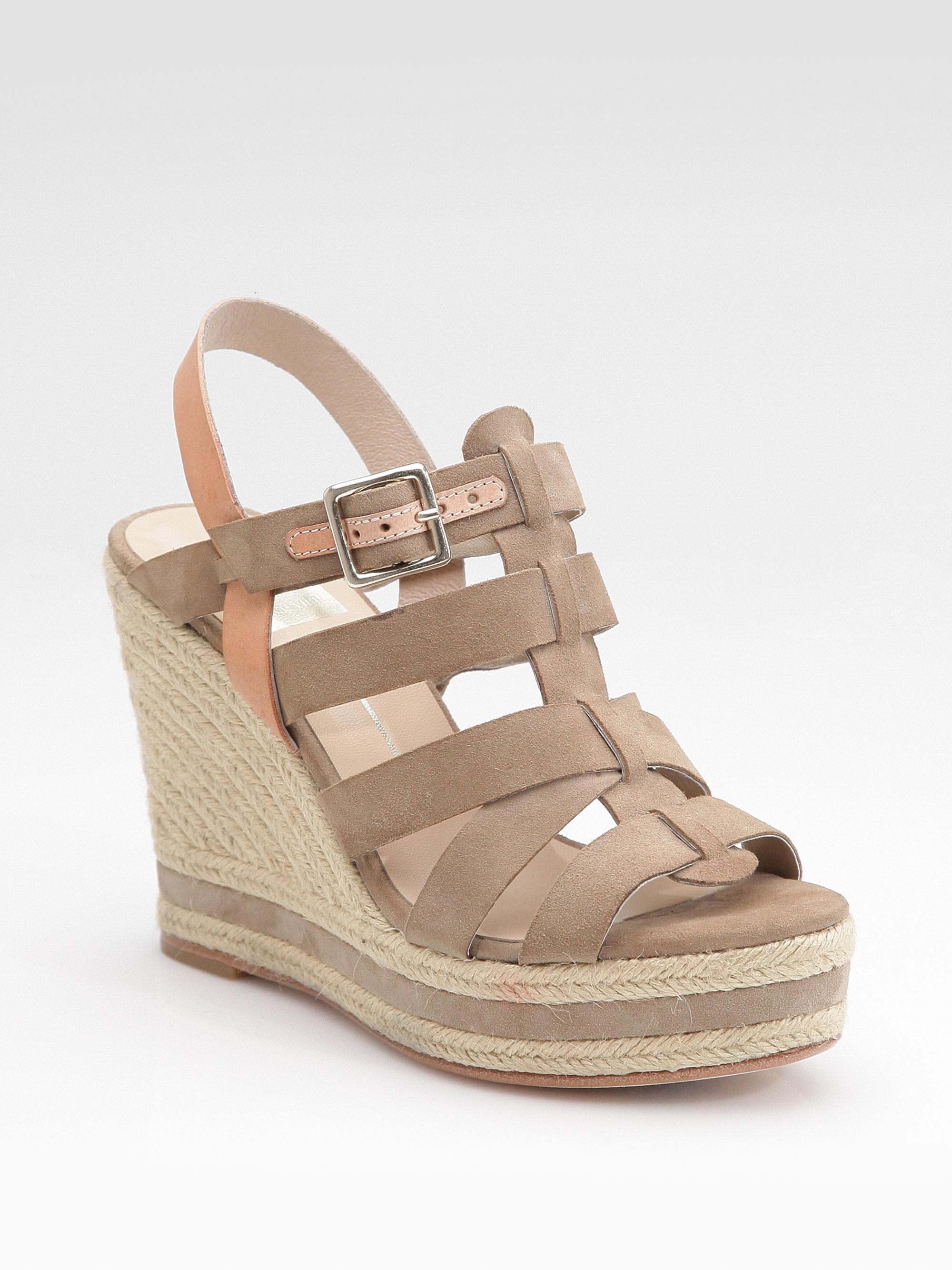 dolce vita jalen suede wedge sandals in brown lyst