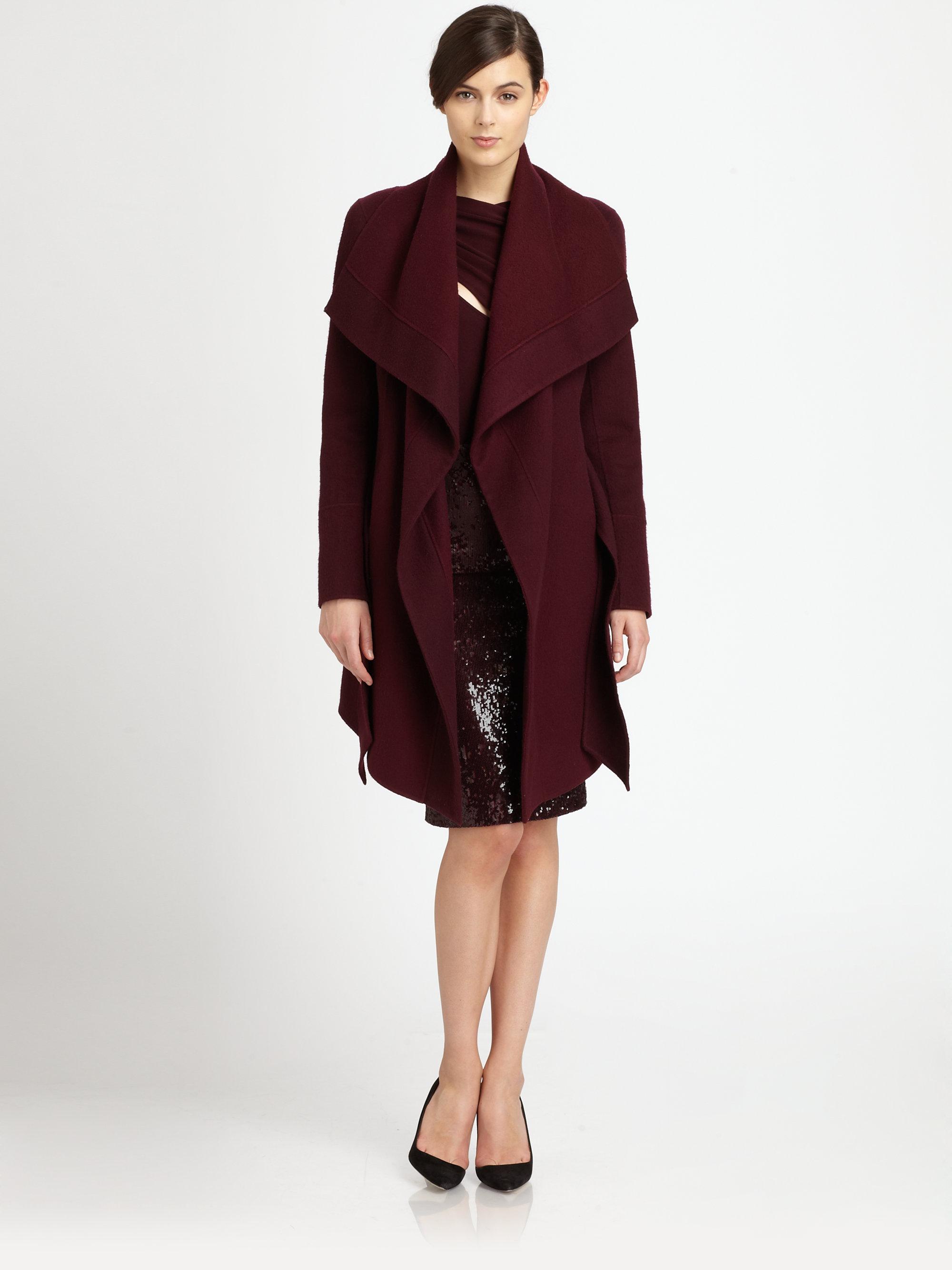 lyst donna karan draped cashmere coat in red. Black Bedroom Furniture Sets. Home Design Ideas