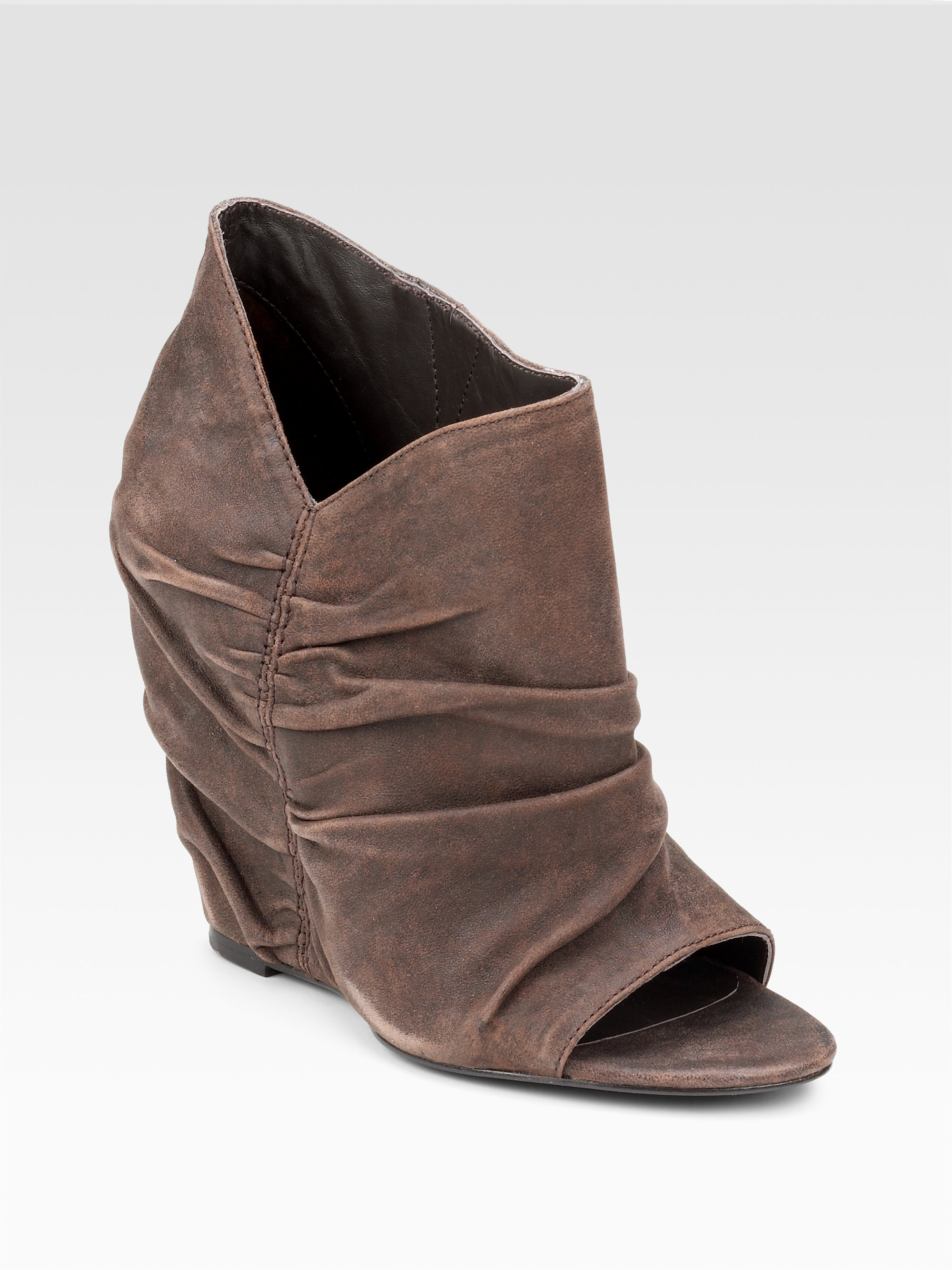 elizabeth and ruched suede wedge ankle boot in brown