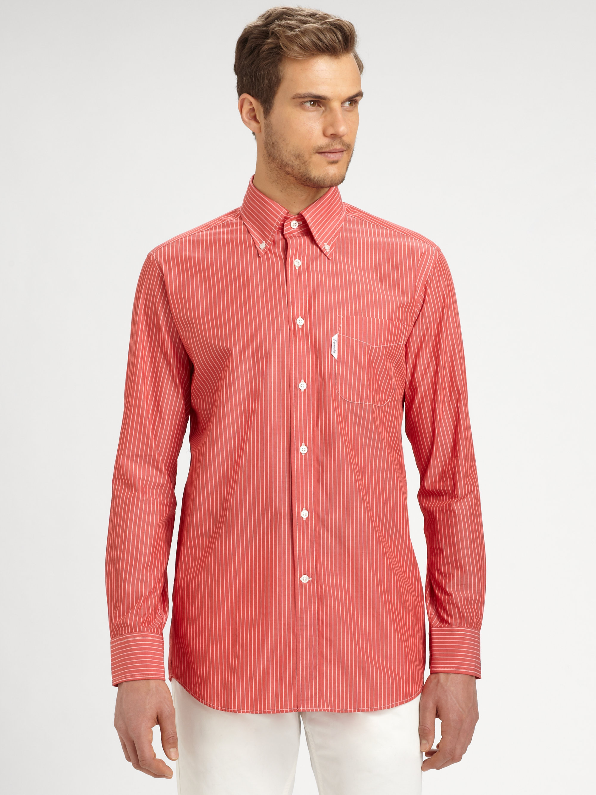 Fa onnable striped casual dress shirt in red for men lyst for Mens red and white striped dress shirt