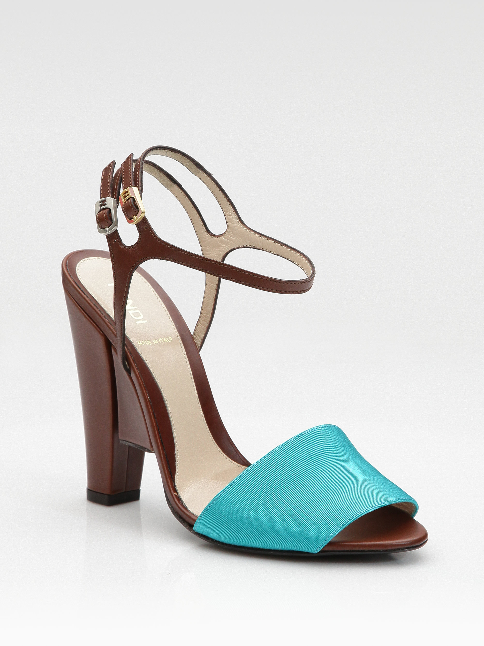 Fendi Color Block Sandals In Blue Turquoise Lyst