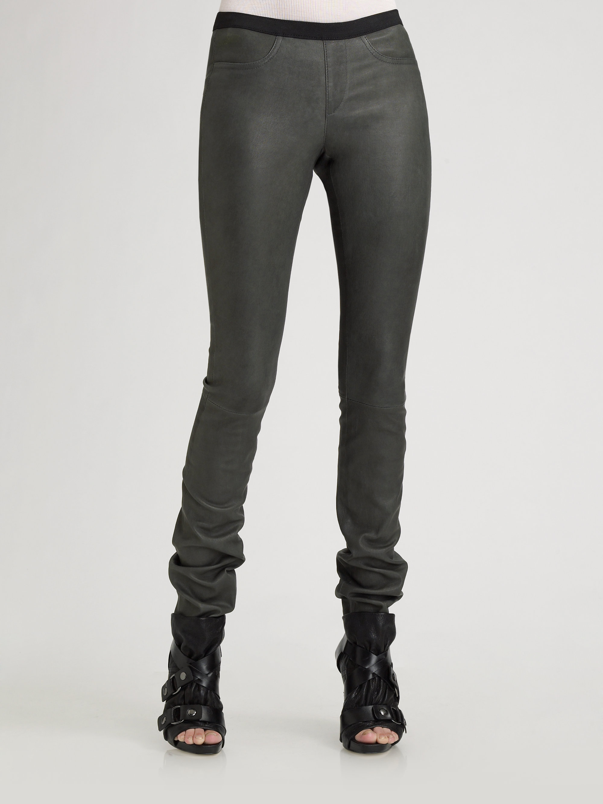 Helmut lang Stretch Leather Leggings in Gray | Lyst