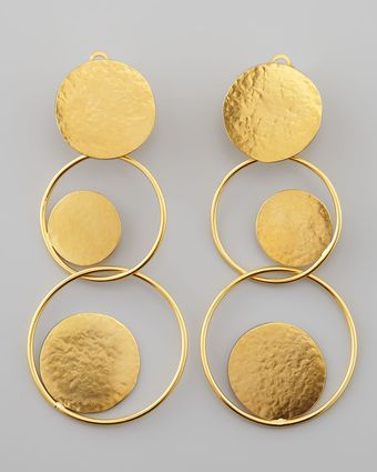 Herve Van Der Straeten Mmered Gold Circle Drop Earrings - Lyst