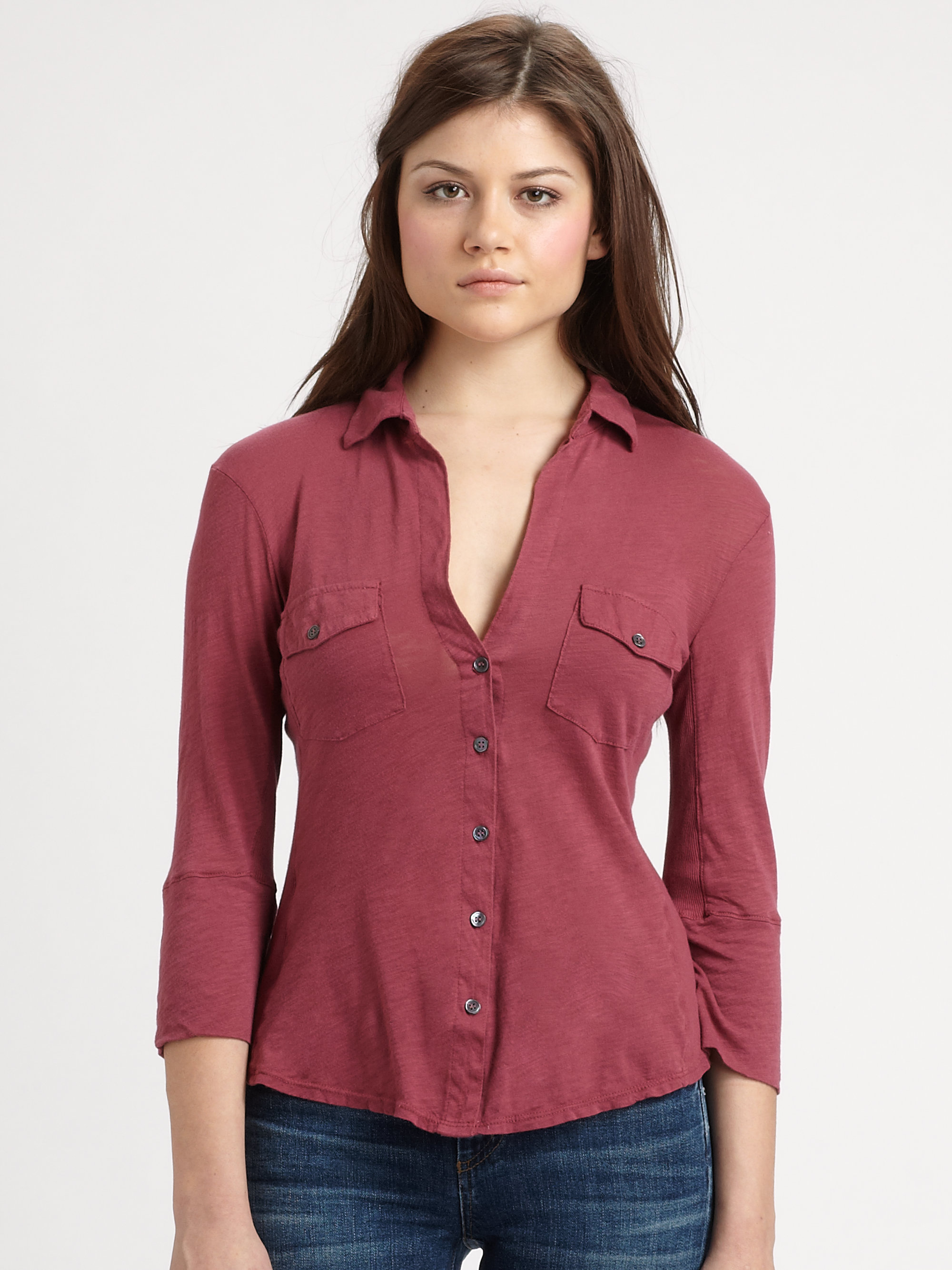 james perse contrast panel shirt in red lyst